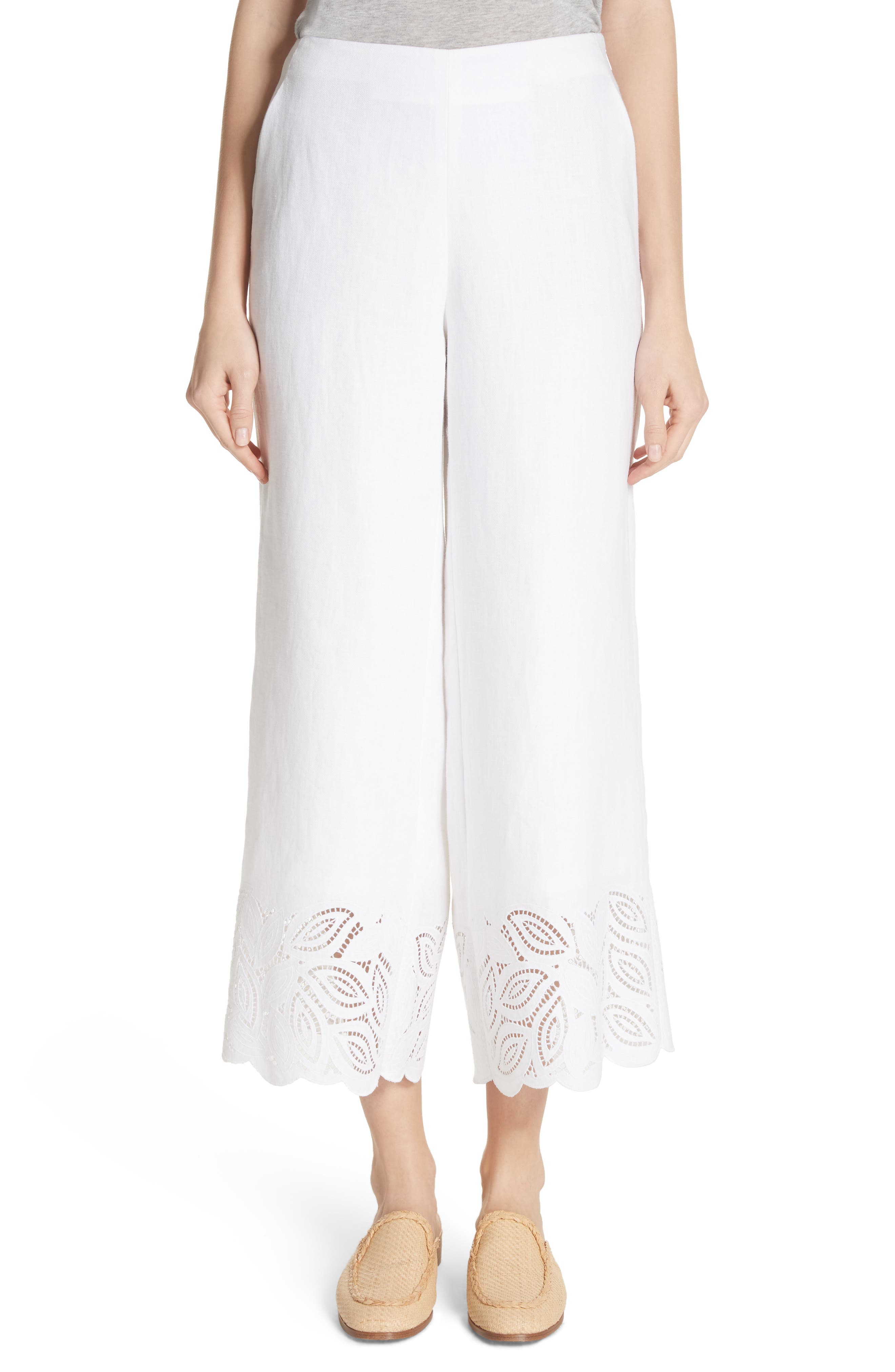Morton Embroidered Pants,                         Main,                         color, White