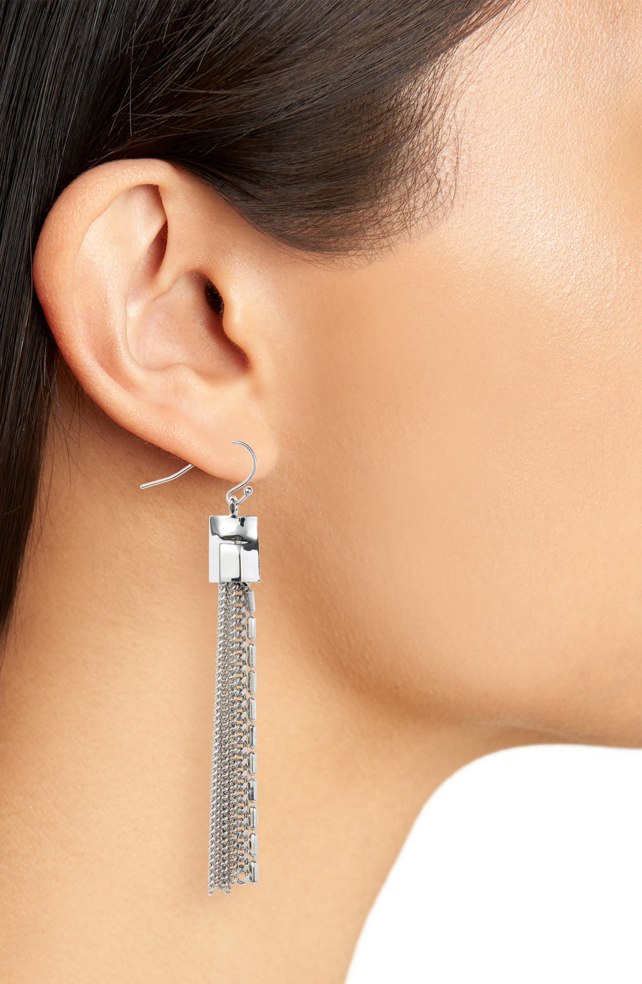 Mix Chain Tassel Drop Earrings,                             Alternate thumbnail 2, color,                             Silver