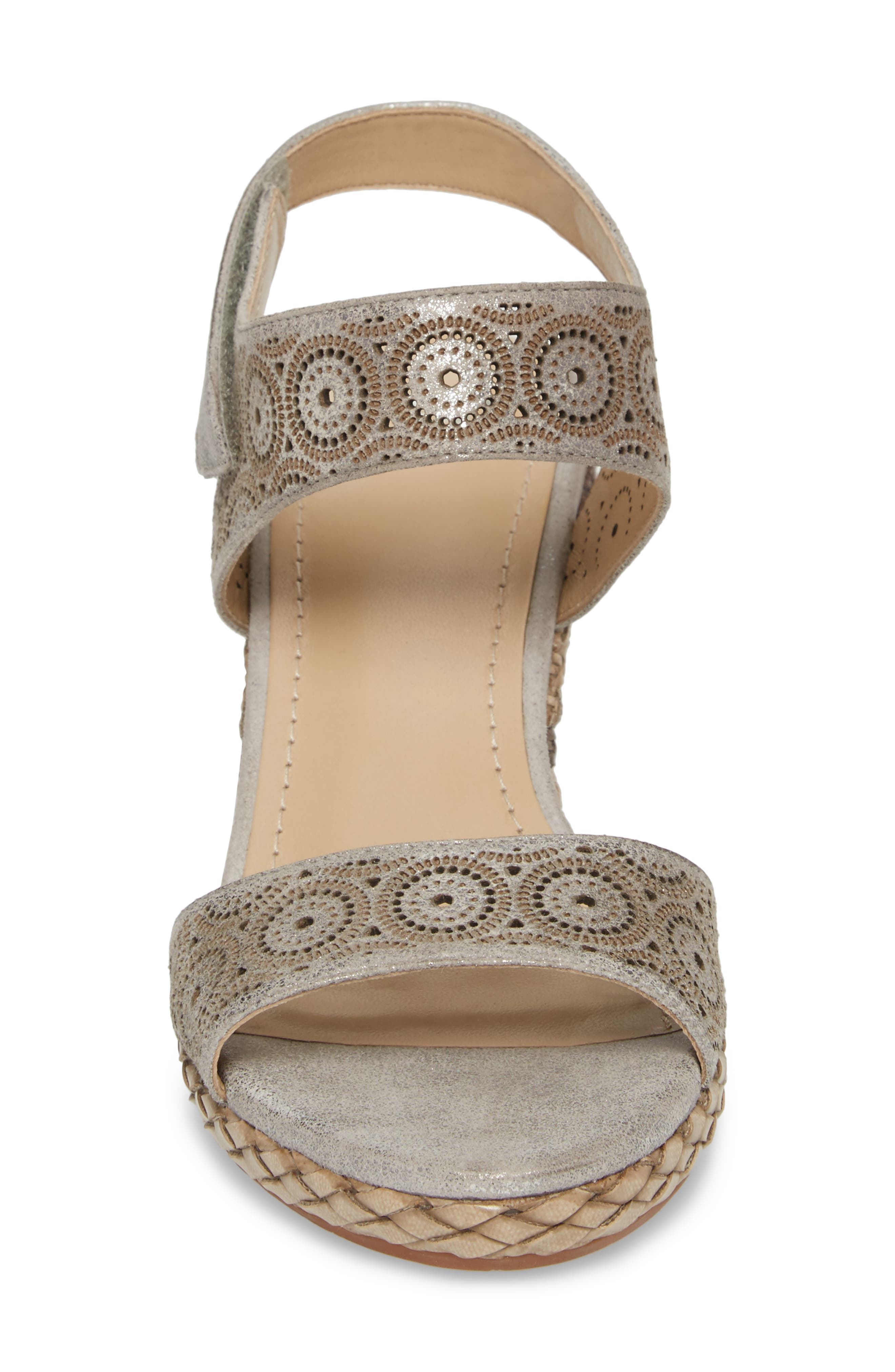 Georgiana Wedge Sandal,                             Alternate thumbnail 4, color,                             Pewter Leather