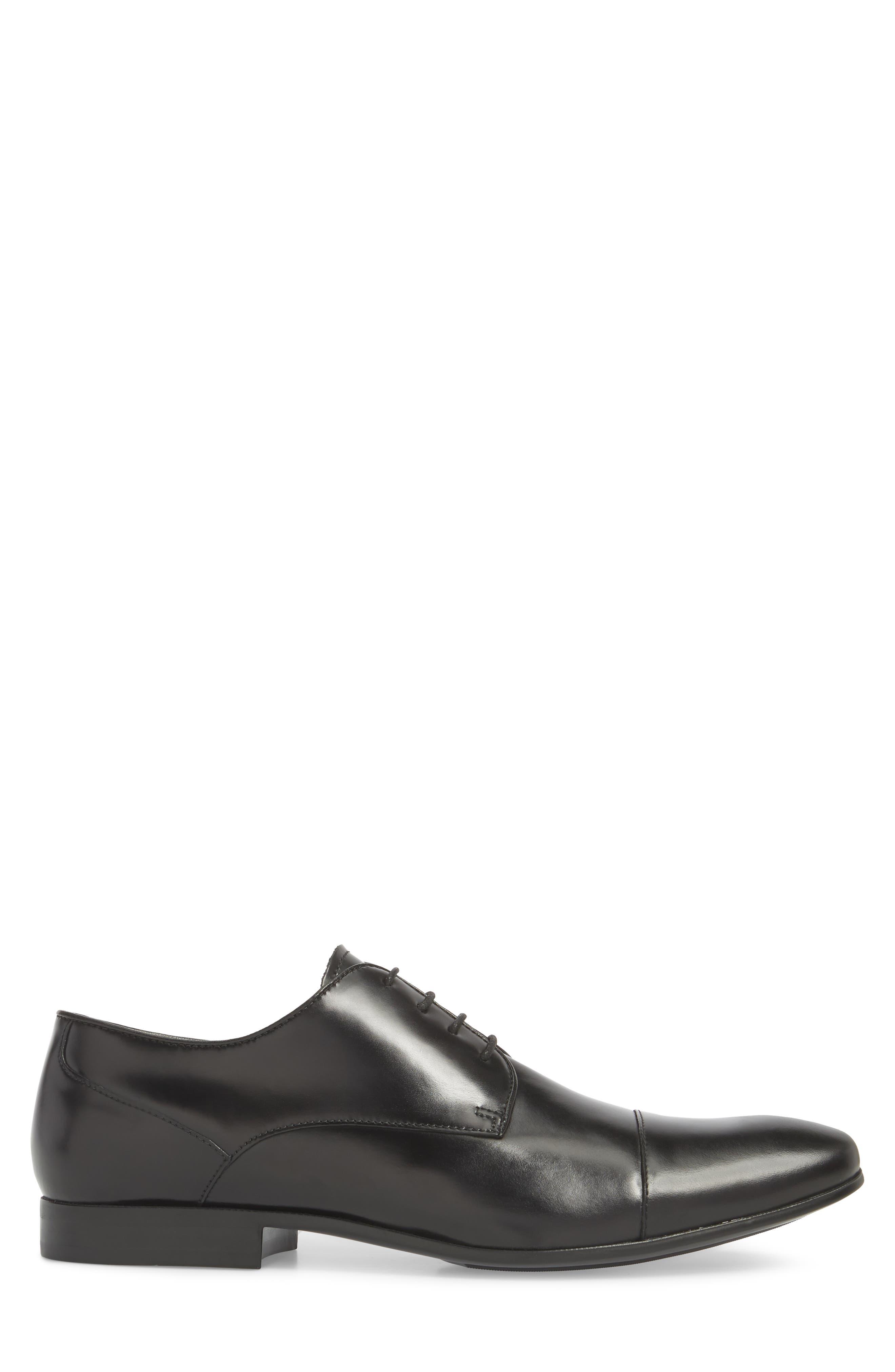 Cap Toe Oxford,                             Alternate thumbnail 3, color,                             Black Leather