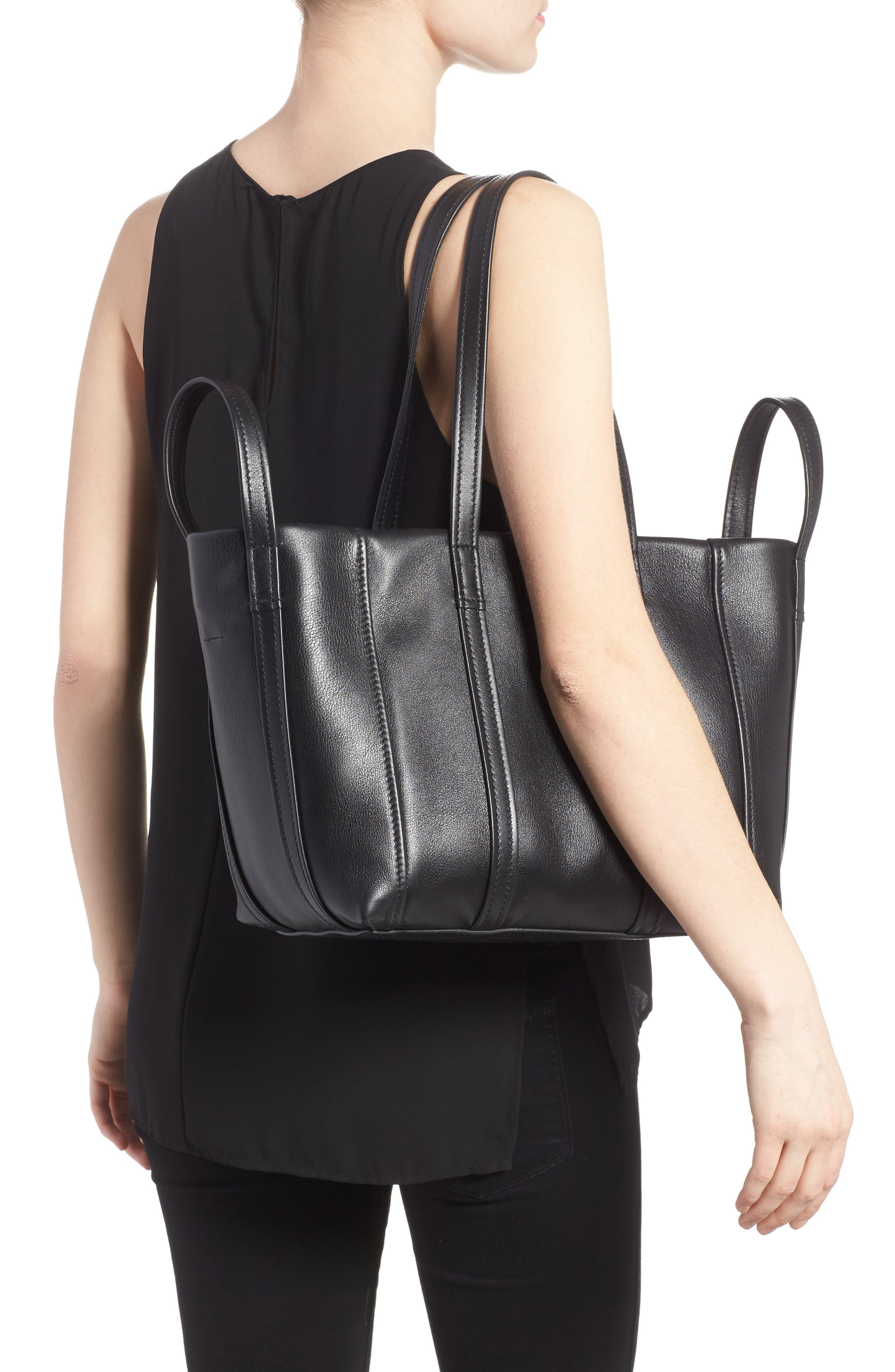 Small Laundry Calfskin Tote,                             Alternate thumbnail 2, color,                             Noir
