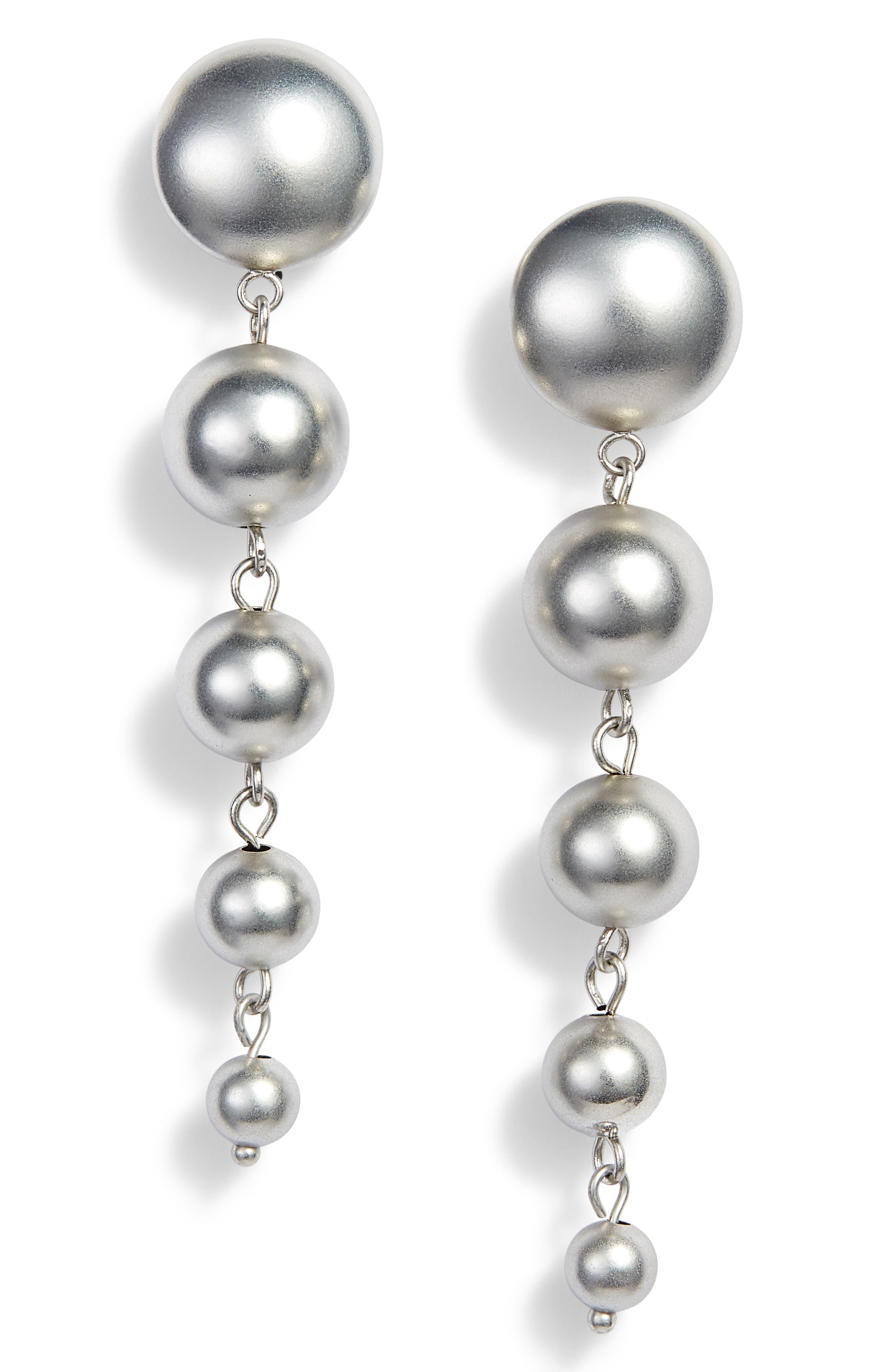 5-Sphere Graduated Drop Earrings,                             Main thumbnail 1, color,                             Rhodium