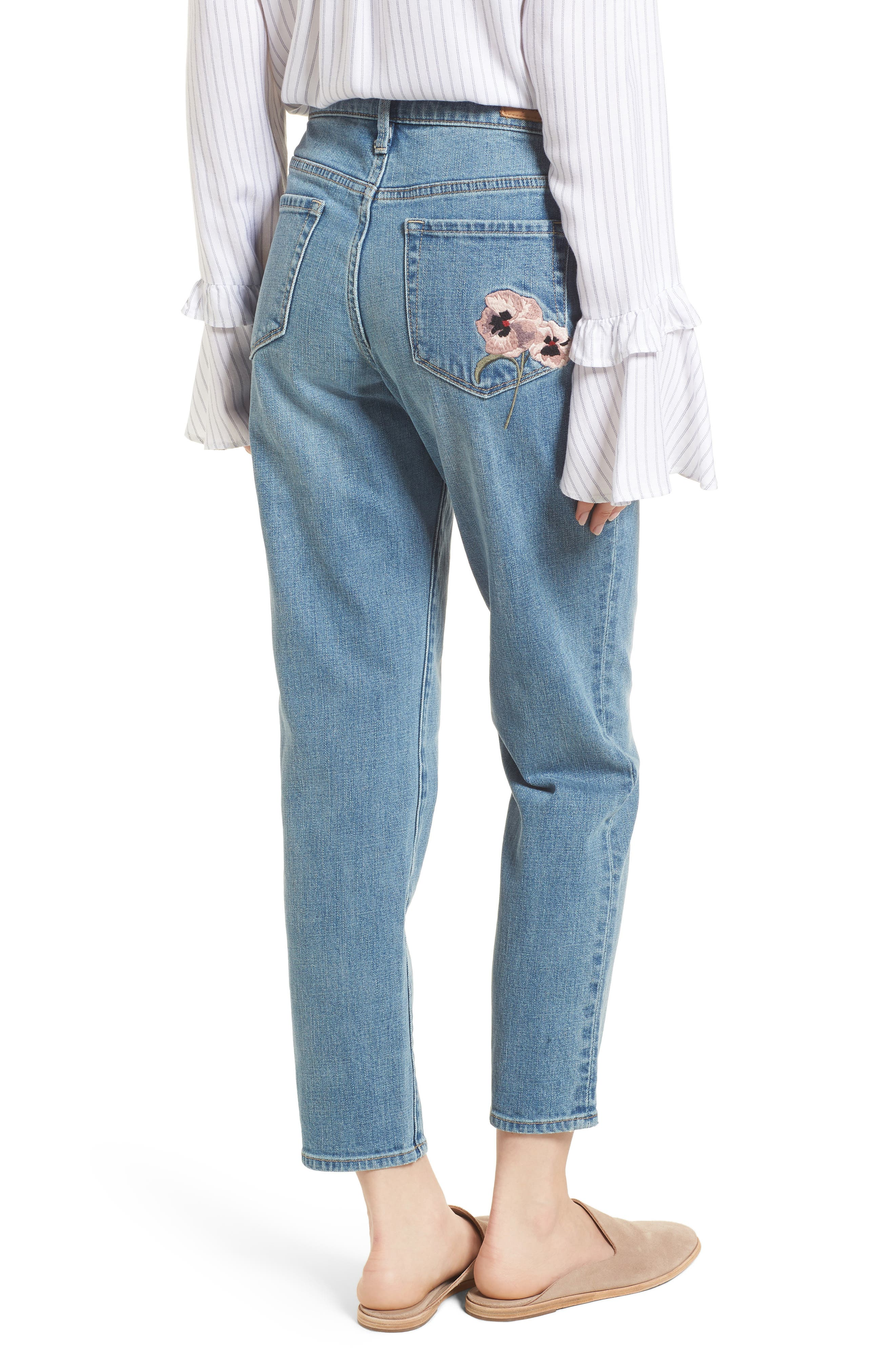 Pansy Embroidered Crop Boyfriend Jeans,                             Alternate thumbnail 2, color,                             Granite Light Embroidery