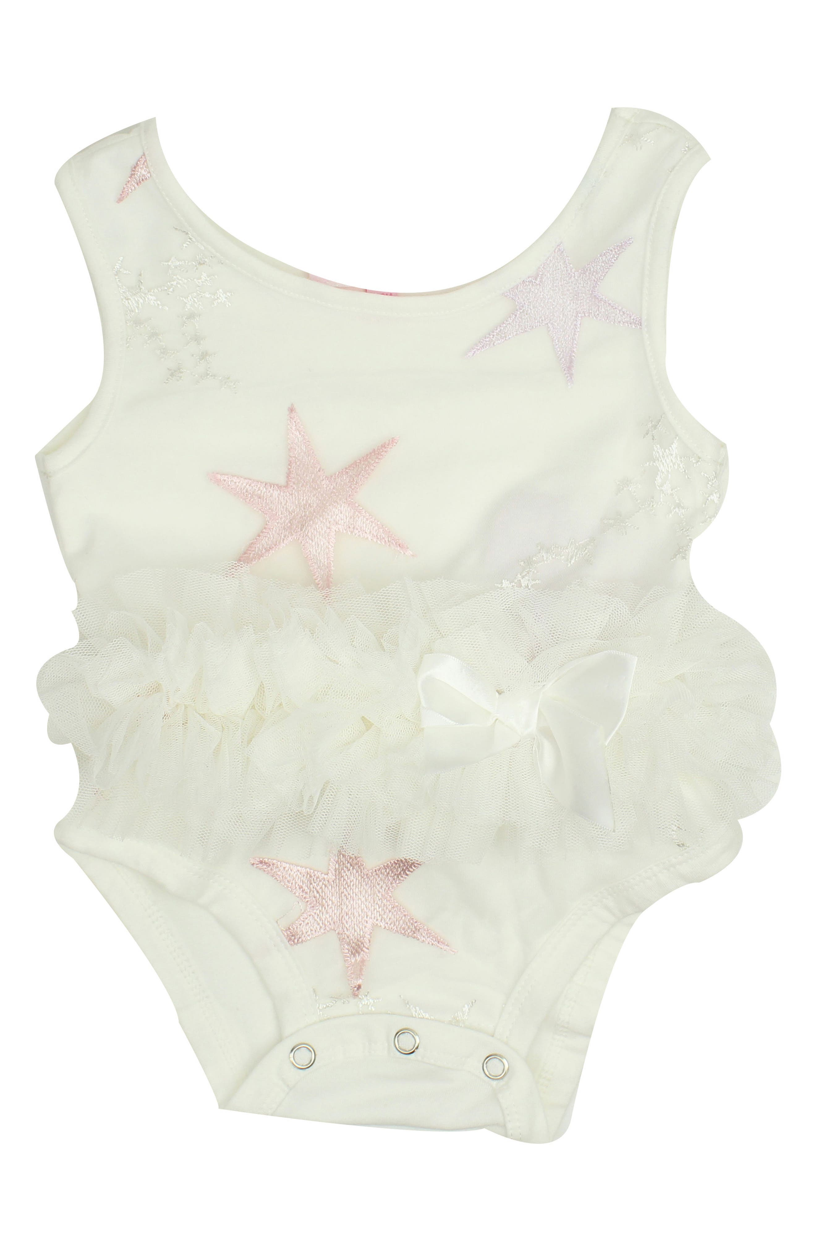 Star Embroidered Tutu Bodysuit,                             Main thumbnail 1, color,                             White