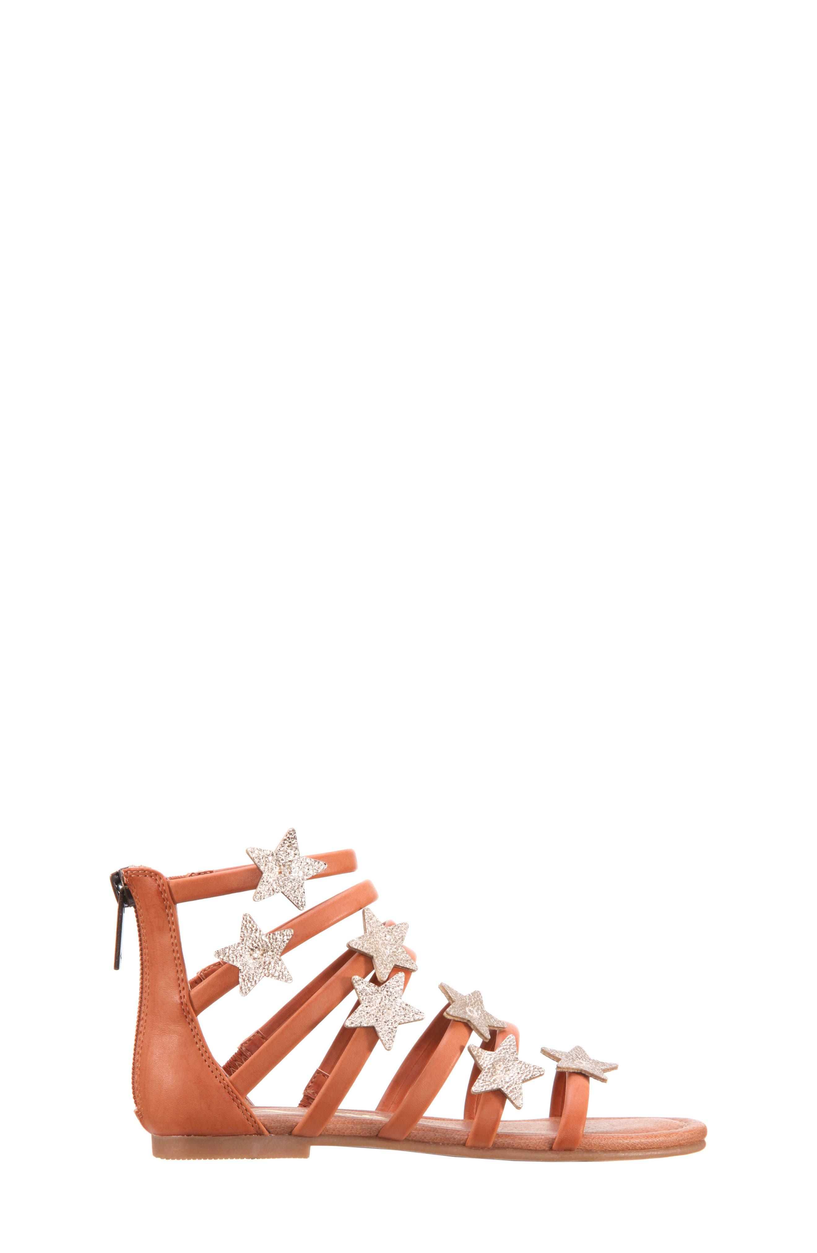 Robertha Gladiator Sandal,                             Alternate thumbnail 3, color,                             Tan Smooth/ Gold Metallic
