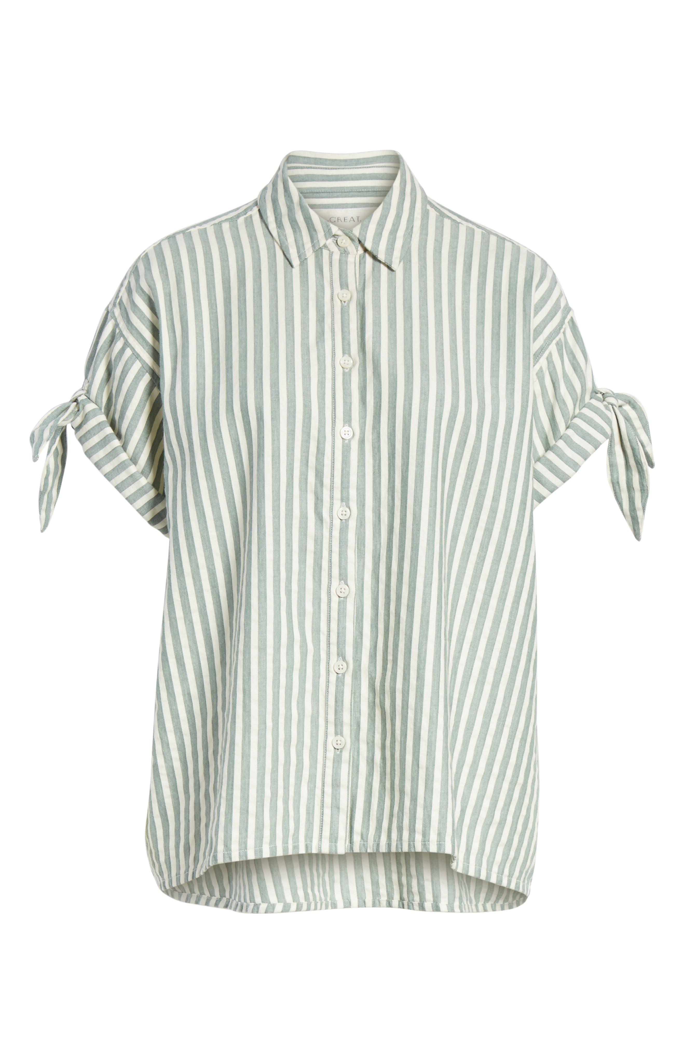 The Tie Sleeve Stripe Shirt,                             Alternate thumbnail 6, color,                             Green Stripe
