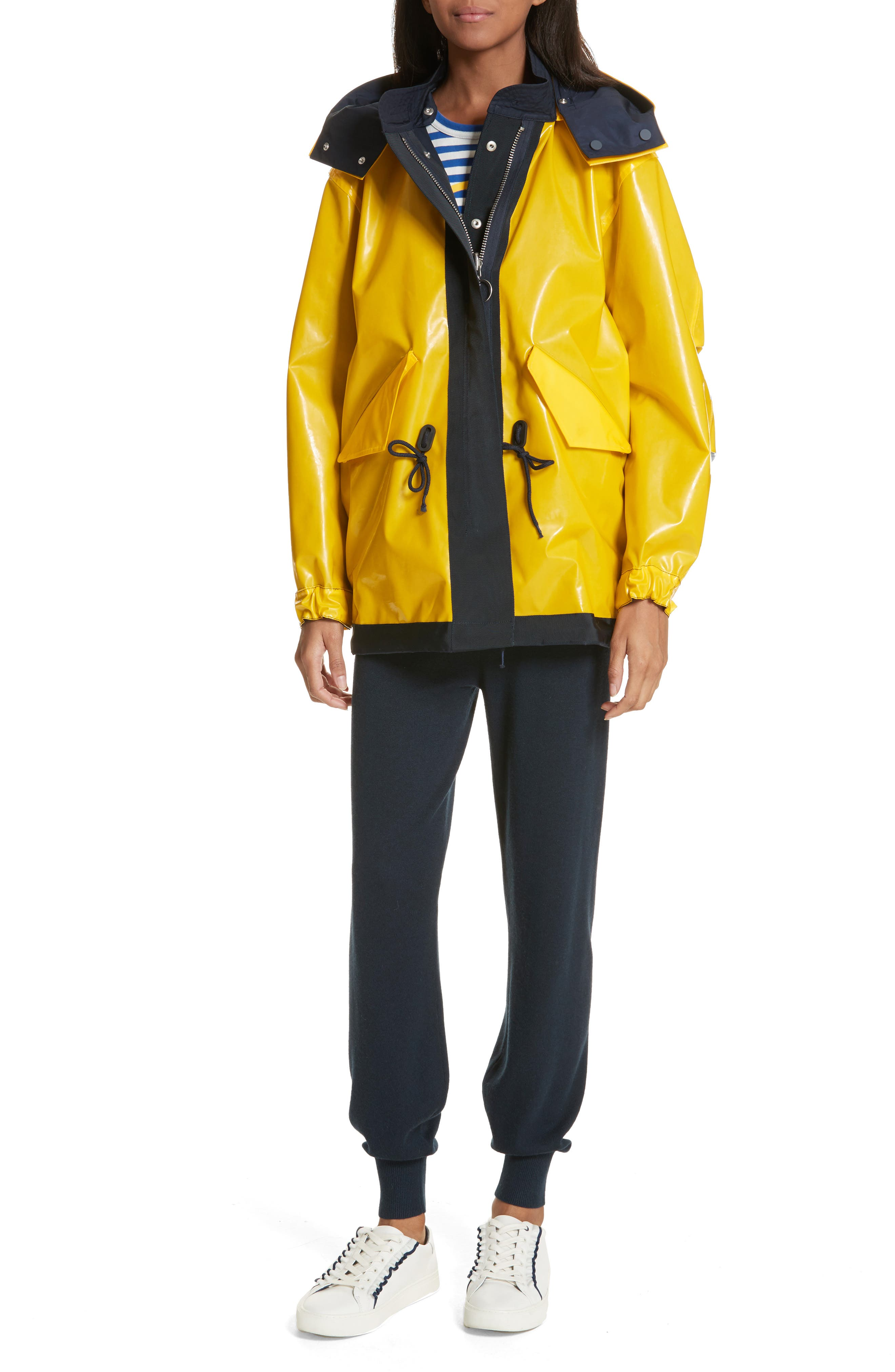 Reversible Rain Jacket,                             Alternate thumbnail 2, color,                             Tory Navy/ Cyber Yellow