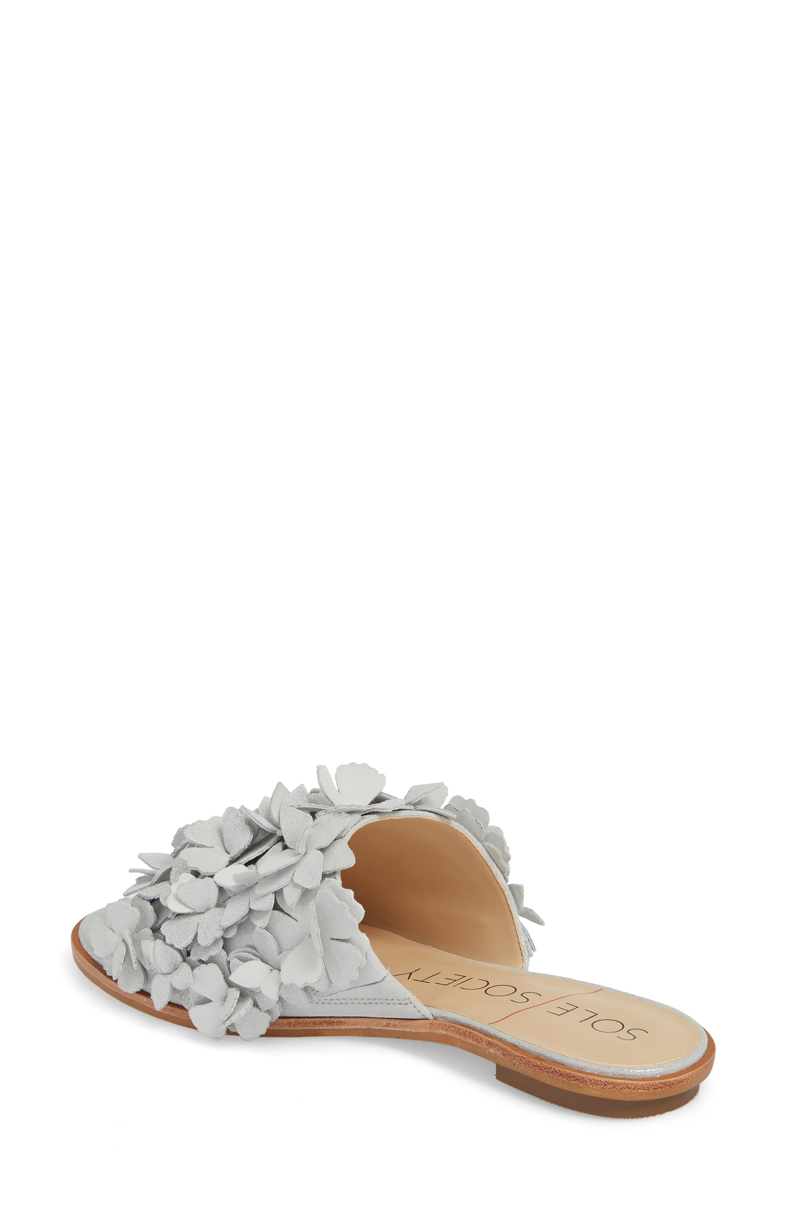 Caelyn Embellished Flat Sandal,                             Alternate thumbnail 2, color,                             Dusted Silver