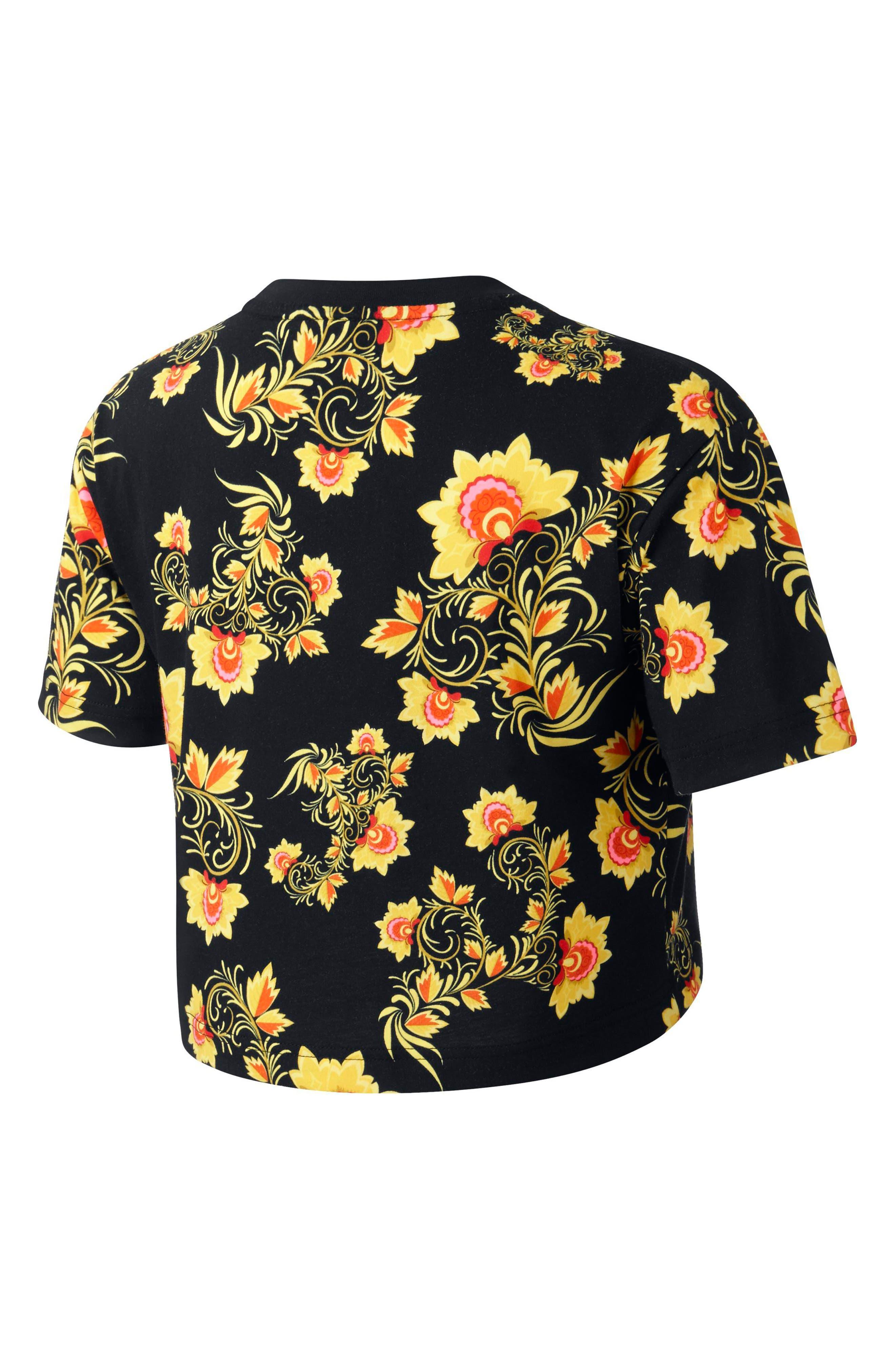 Sportswear Russian Floral Print Crop Tee,                             Alternate thumbnail 6, color,                             Black