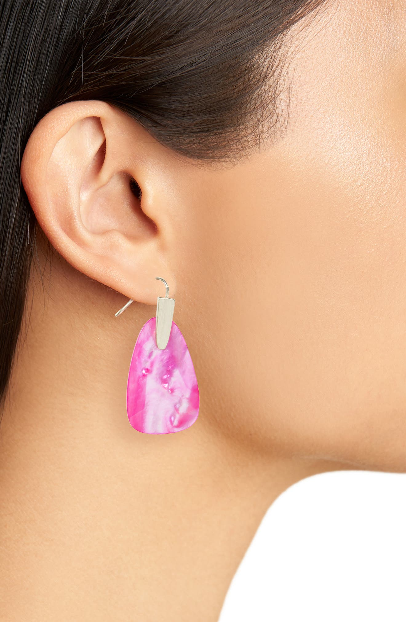 Marty Stone Earrings,                             Alternate thumbnail 2, color,                             Magenta Mop/ Gold