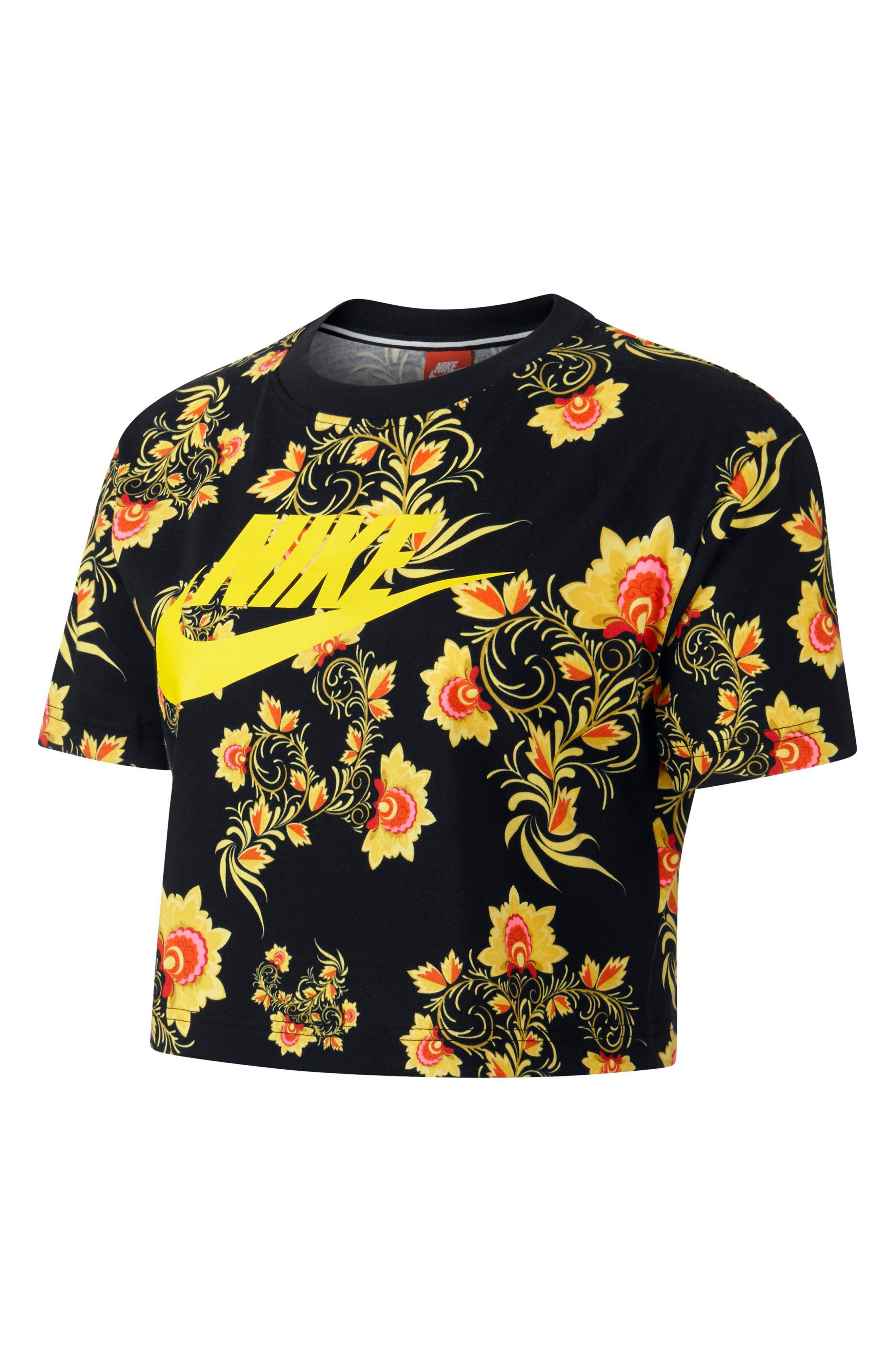Sportswear Russian Floral Print Crop Tee,                             Alternate thumbnail 5, color,                             Black