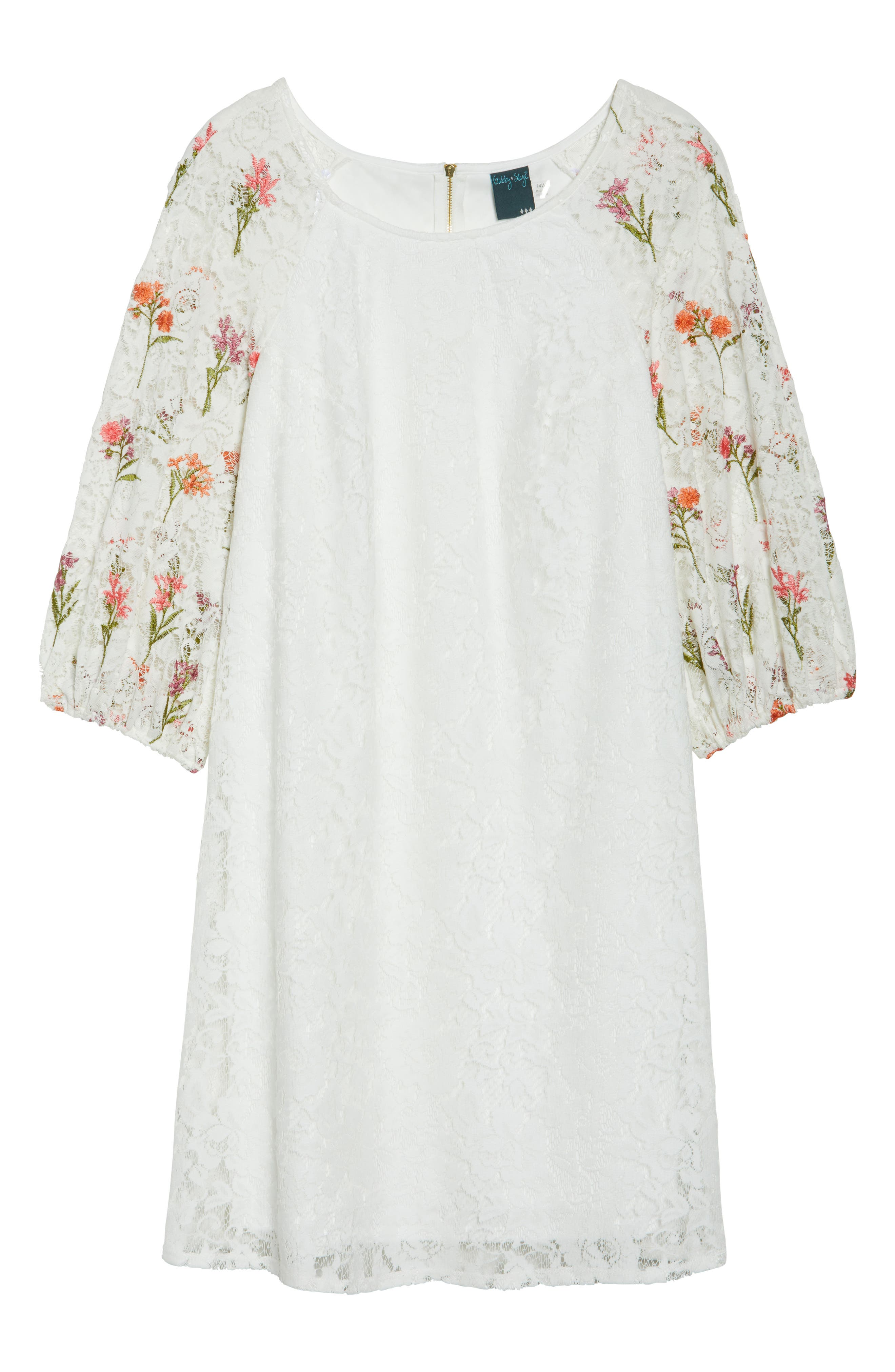 Lace Embroidered Trapeze Dress,                             Alternate thumbnail 6, color,                             Ivory/ Coral