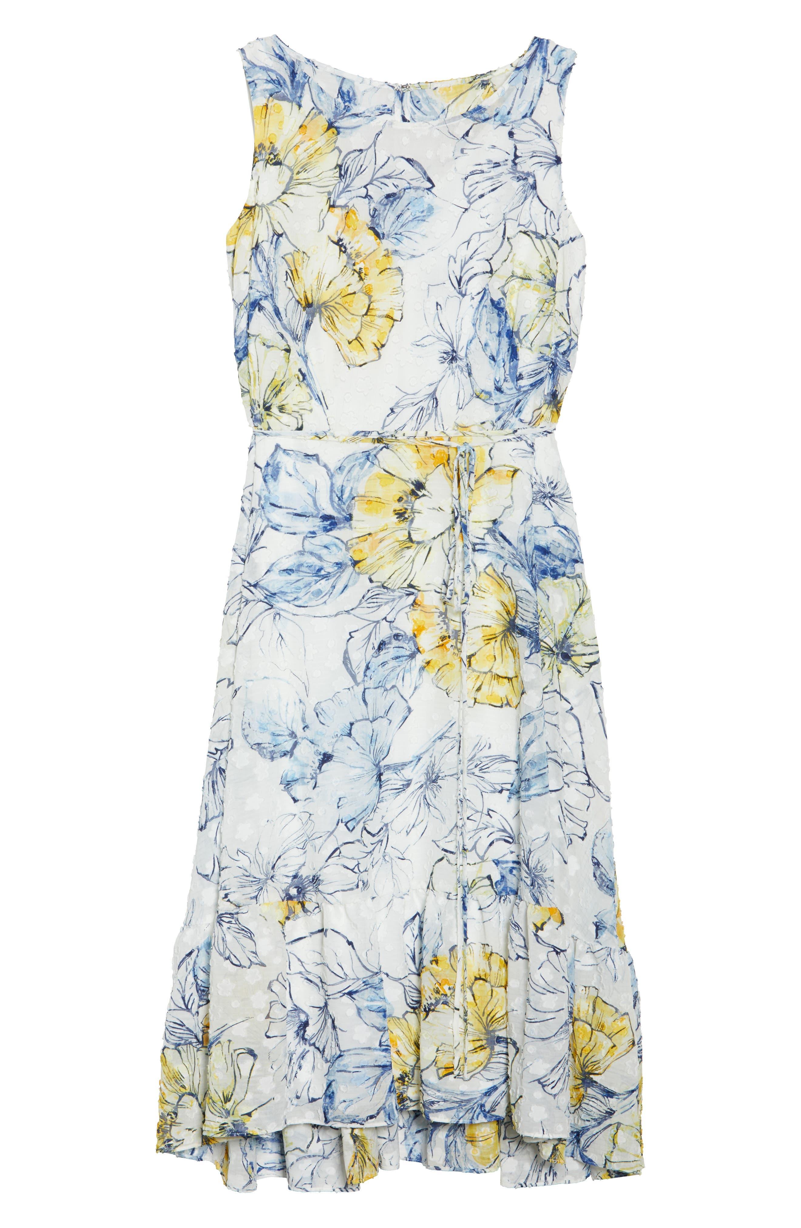 Floral Print High/Low Midi Dress,                             Alternate thumbnail 6, color,                             Denim/ Sun