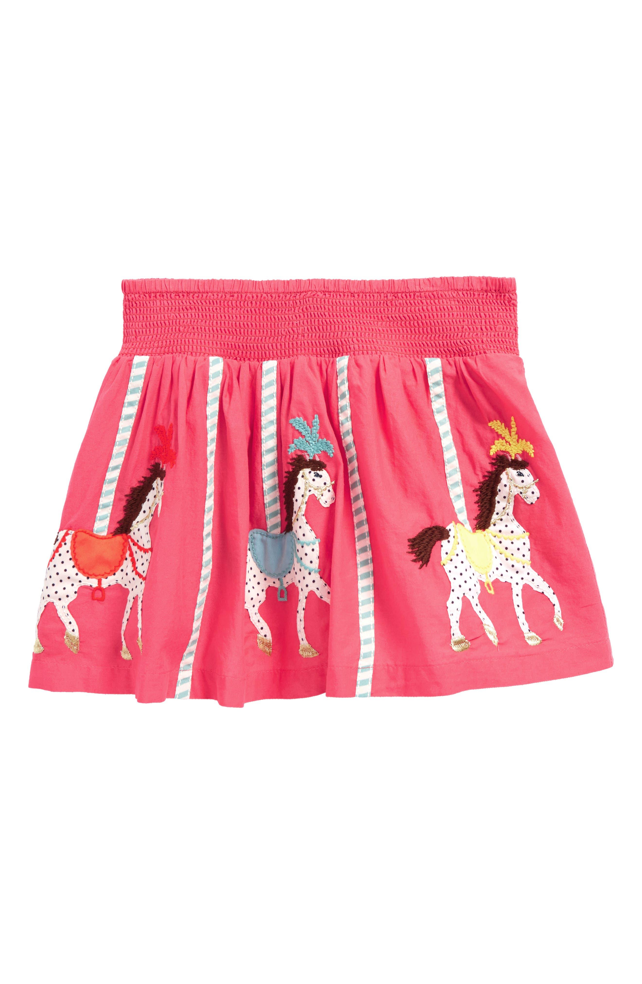 Colorful Appliqué Skirt,                         Main,                         color, Provence Dusty Pink Horses Pnk