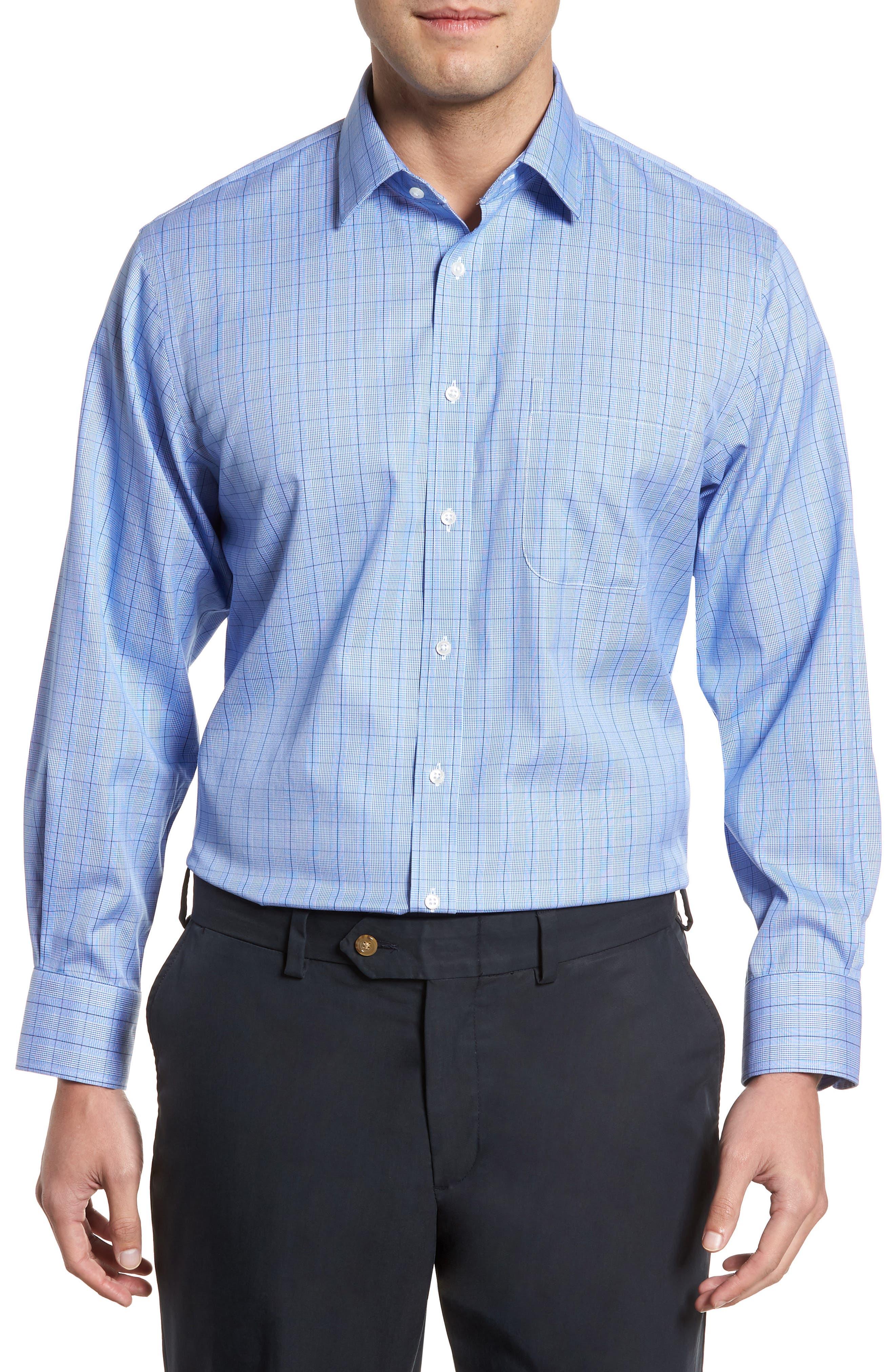 Main Image - Nordstrom Men's Shop Smartcare™ Traditional Fit Windowpane Dress Shirt