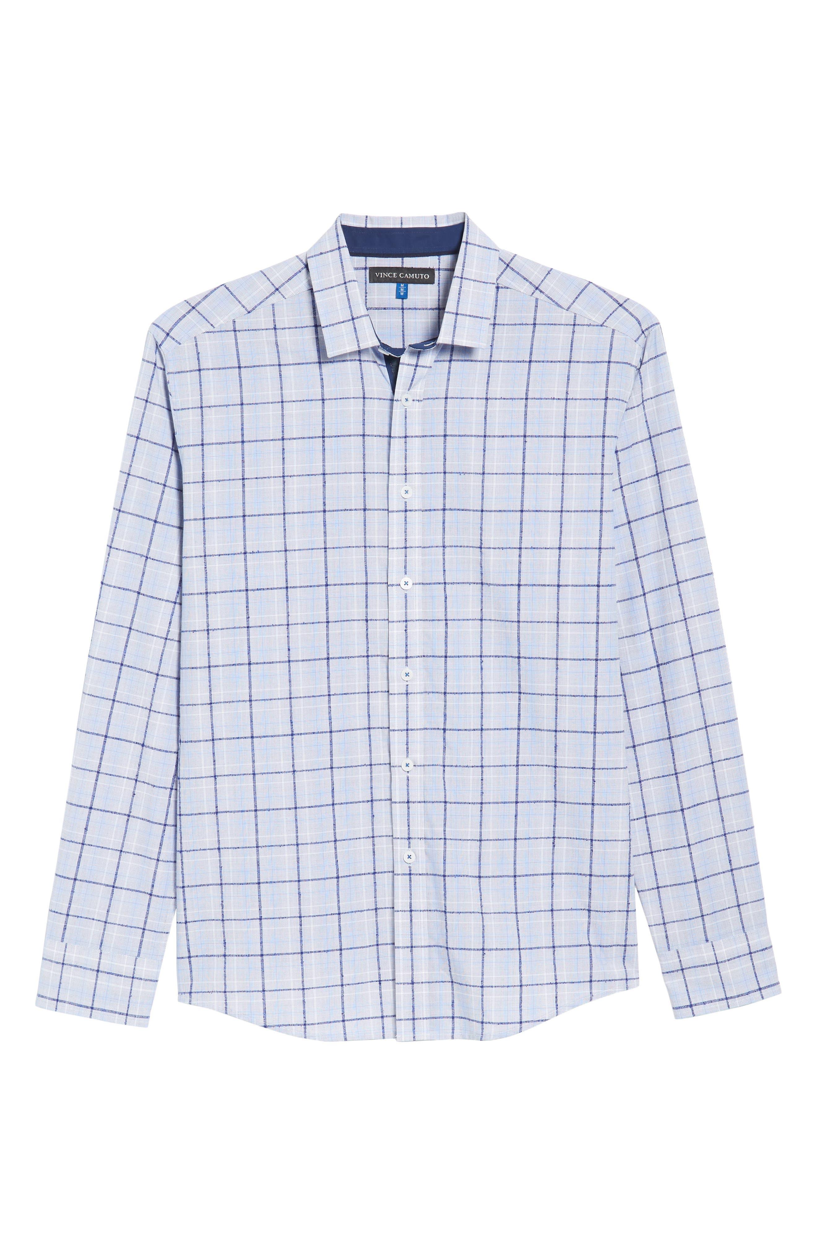 Slim Fit Bouclé Plaid Sport Shirt,                             Alternate thumbnail 6, color,                             Blue Boucle Plaid