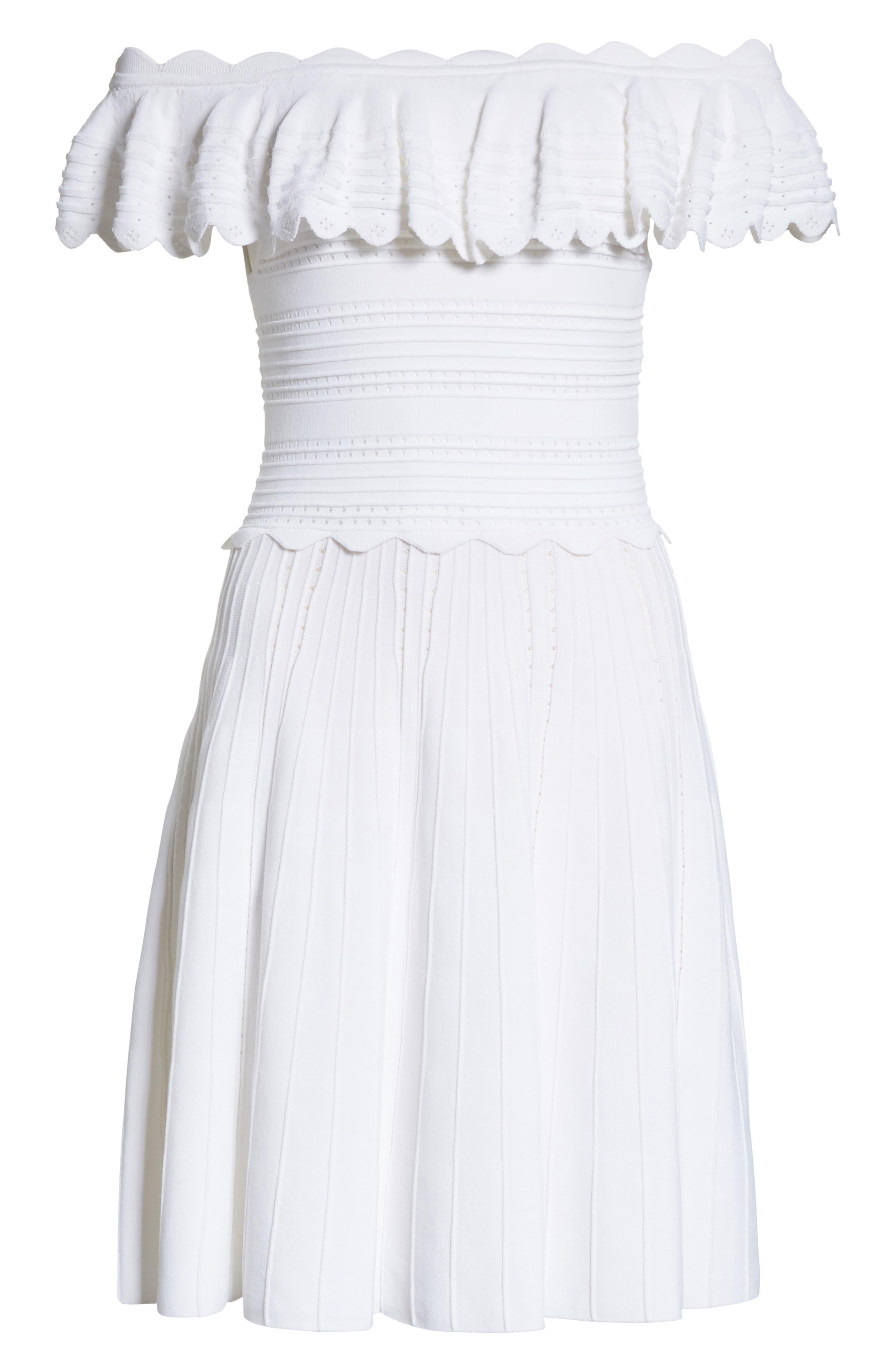 Janella Ruffled Off the Shoulder Dress,                             Alternate thumbnail 6, color,                             Optic White