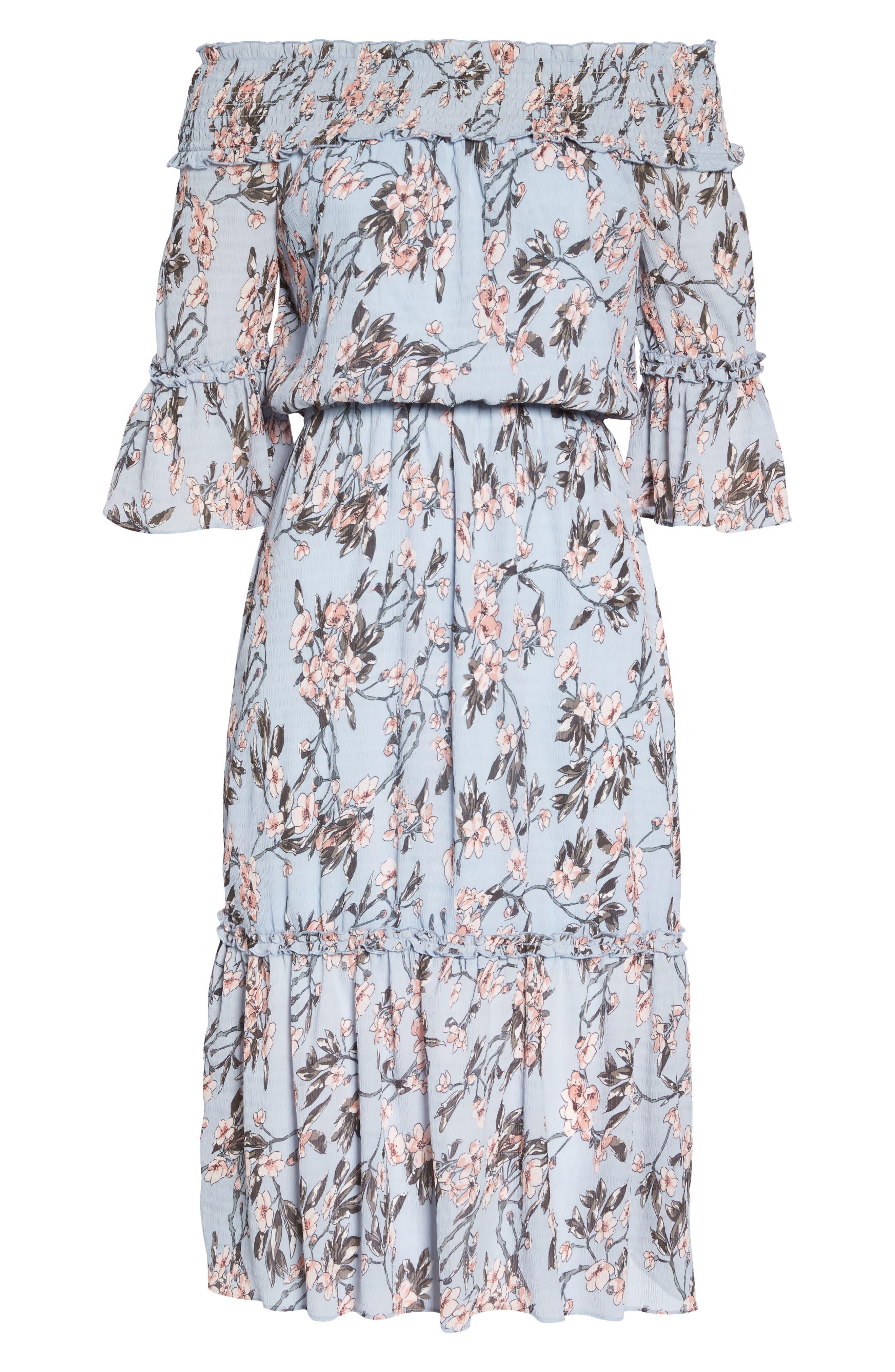 Off the Shoulder Midi Dress,                             Alternate thumbnail 7, color,                             Light Blue Sakura Floral