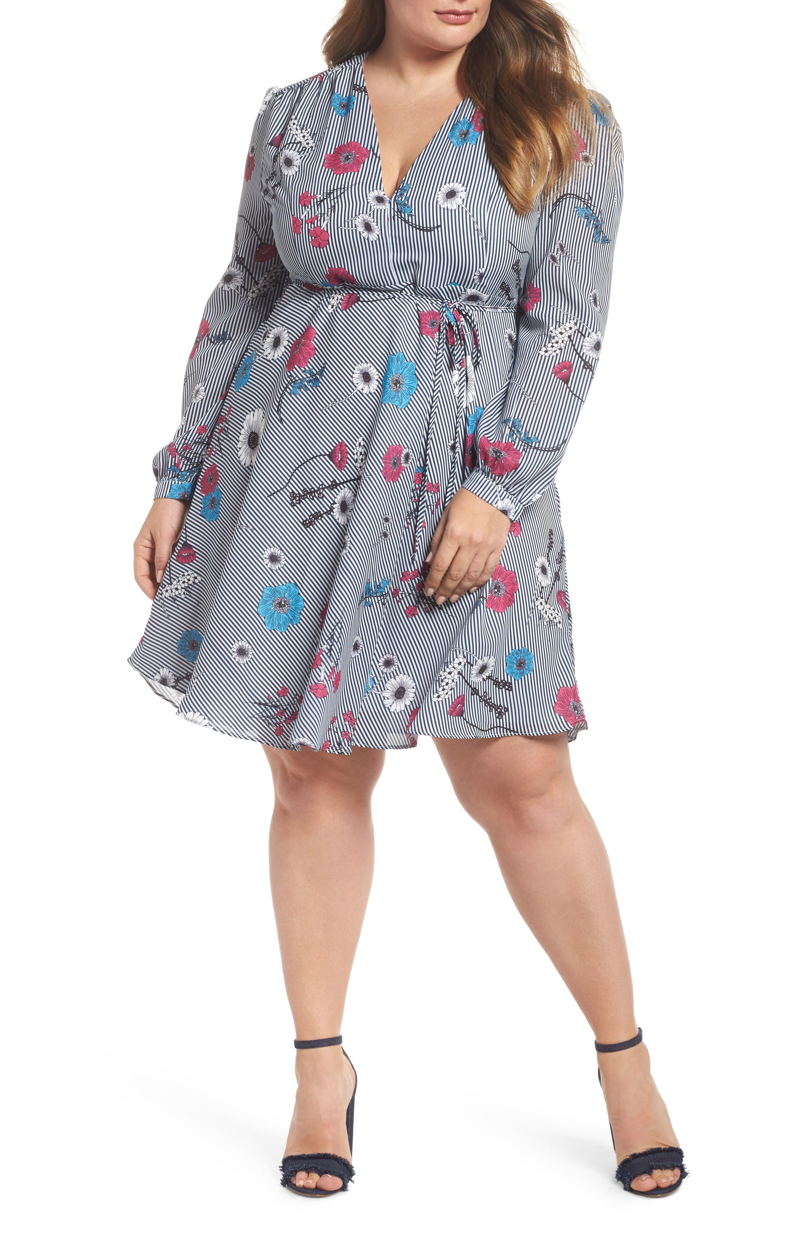Floral Stripe Belted Dress,                         Main,                         color, Blue Stripe Floral