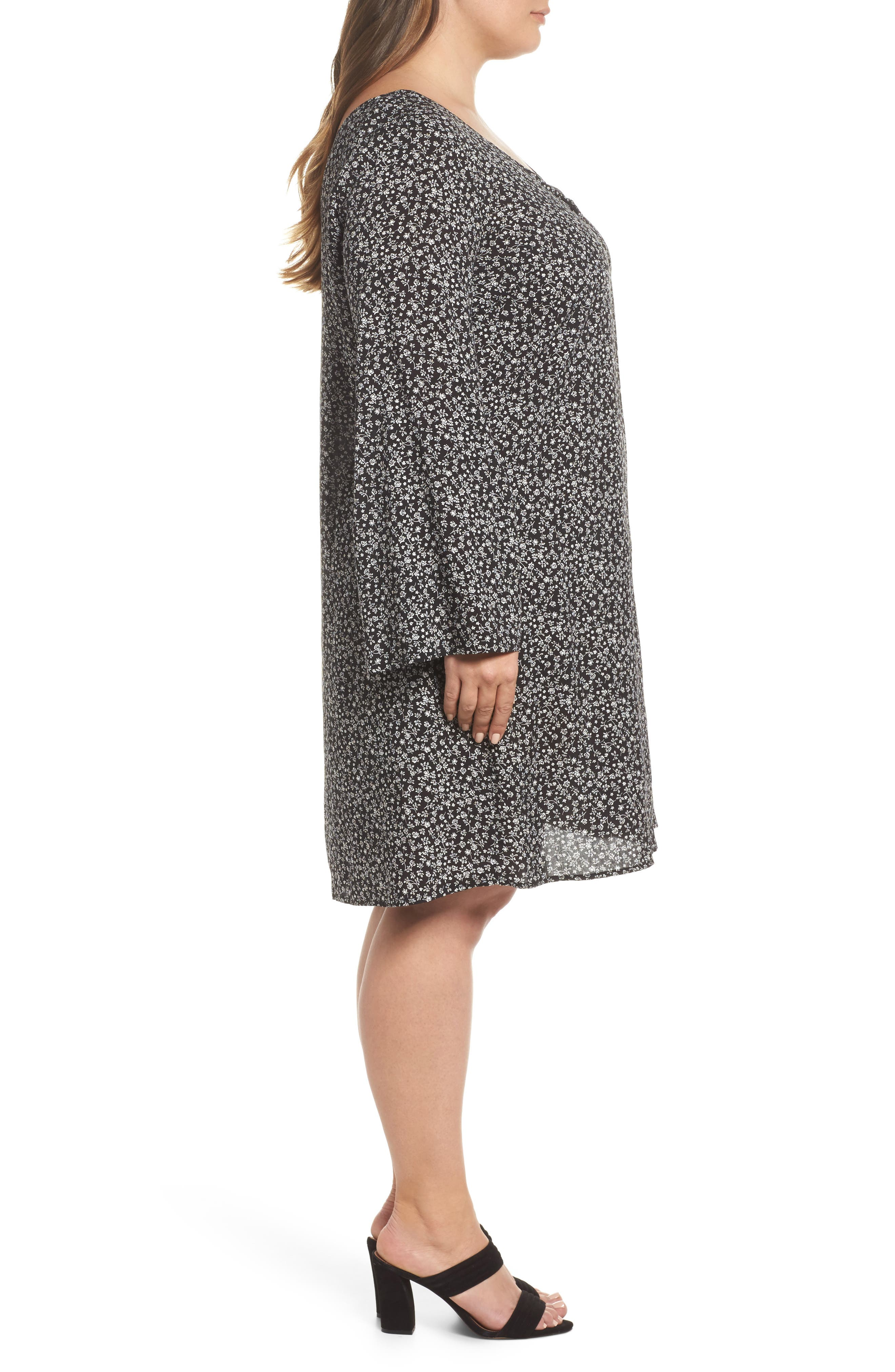 Double V-Neck Print Shift Dress,                             Alternate thumbnail 3, color,                             Ditsy Black Floral