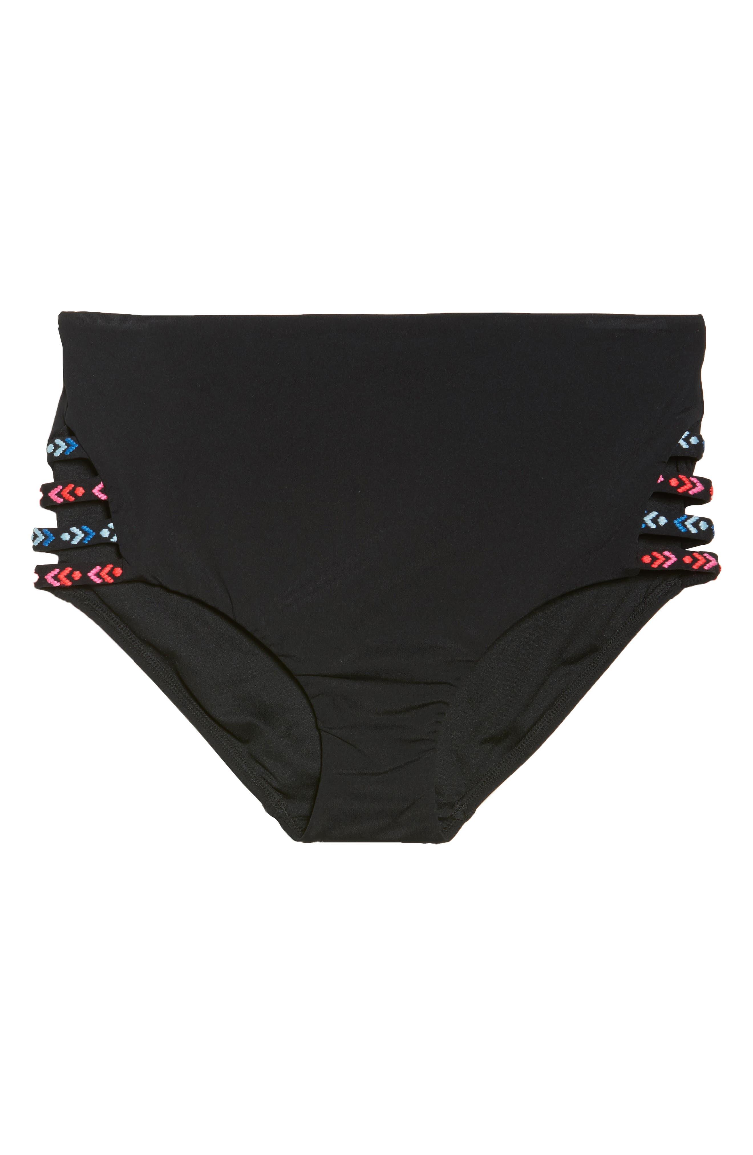 Desert Tribe High Waist Bikini Bottoms,                             Alternate thumbnail 9, color,                             Black