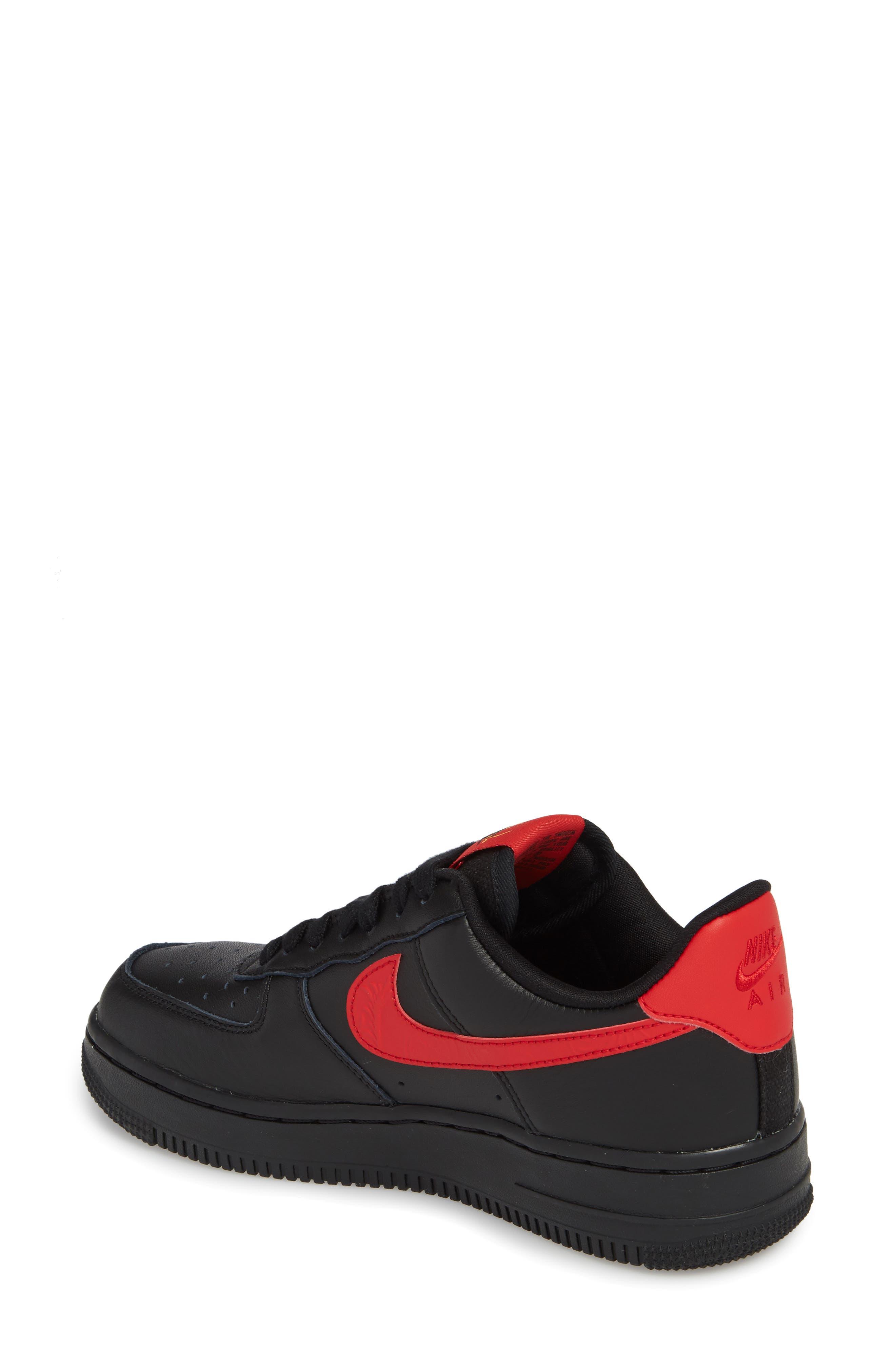 Air Force 1 '07 Sneaker,                             Alternate thumbnail 2, color,                             Black/ University Red