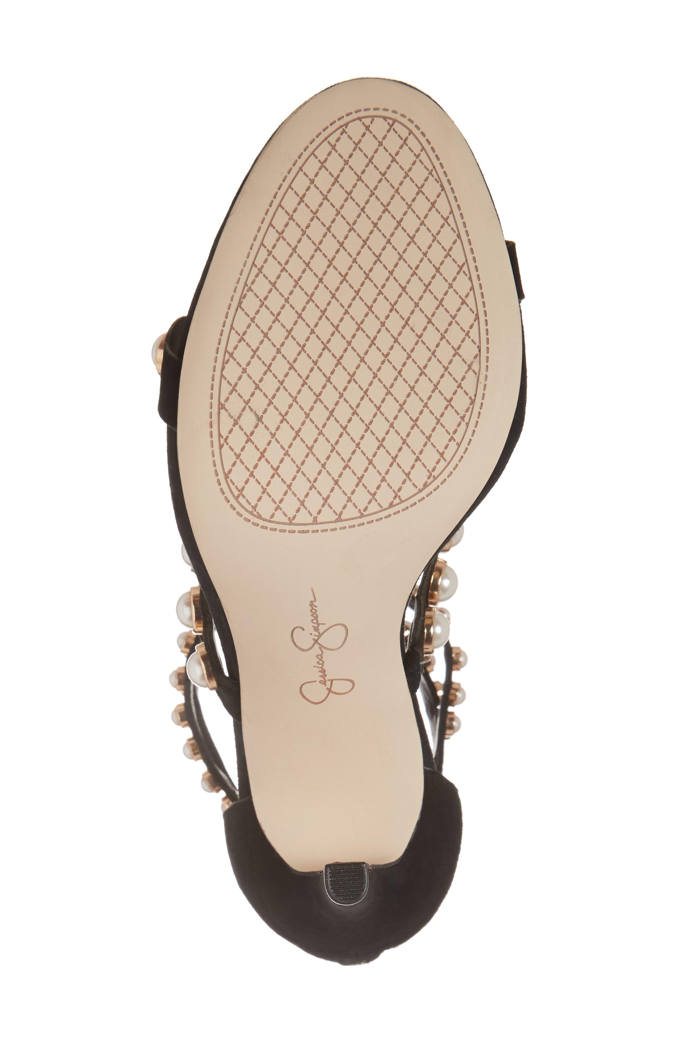 Eleia Imitation Pearl Stud Sandal,                             Alternate thumbnail 6, color,                             Black Suede