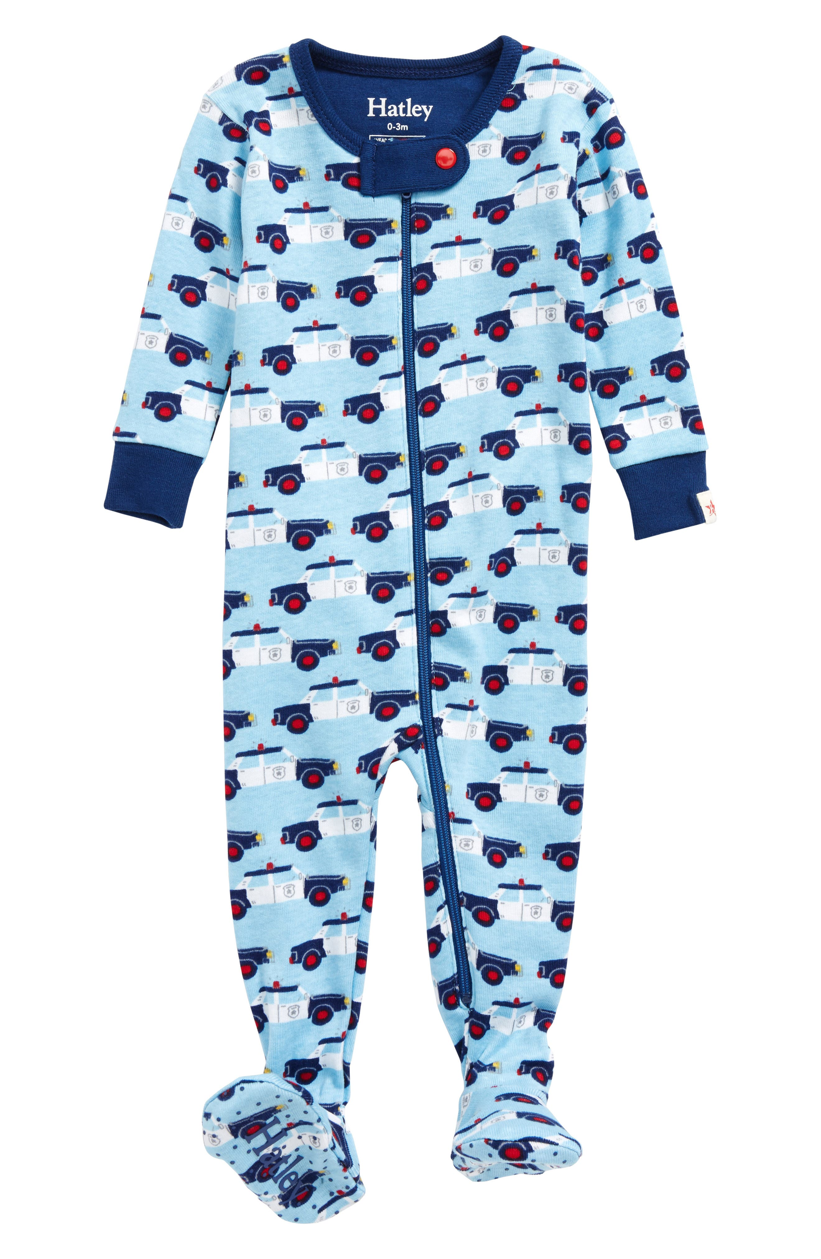 Cop Cars Organic Cotton Fitted One-Piece Pajamas,                             Main thumbnail 1, color,                             Cop Cars