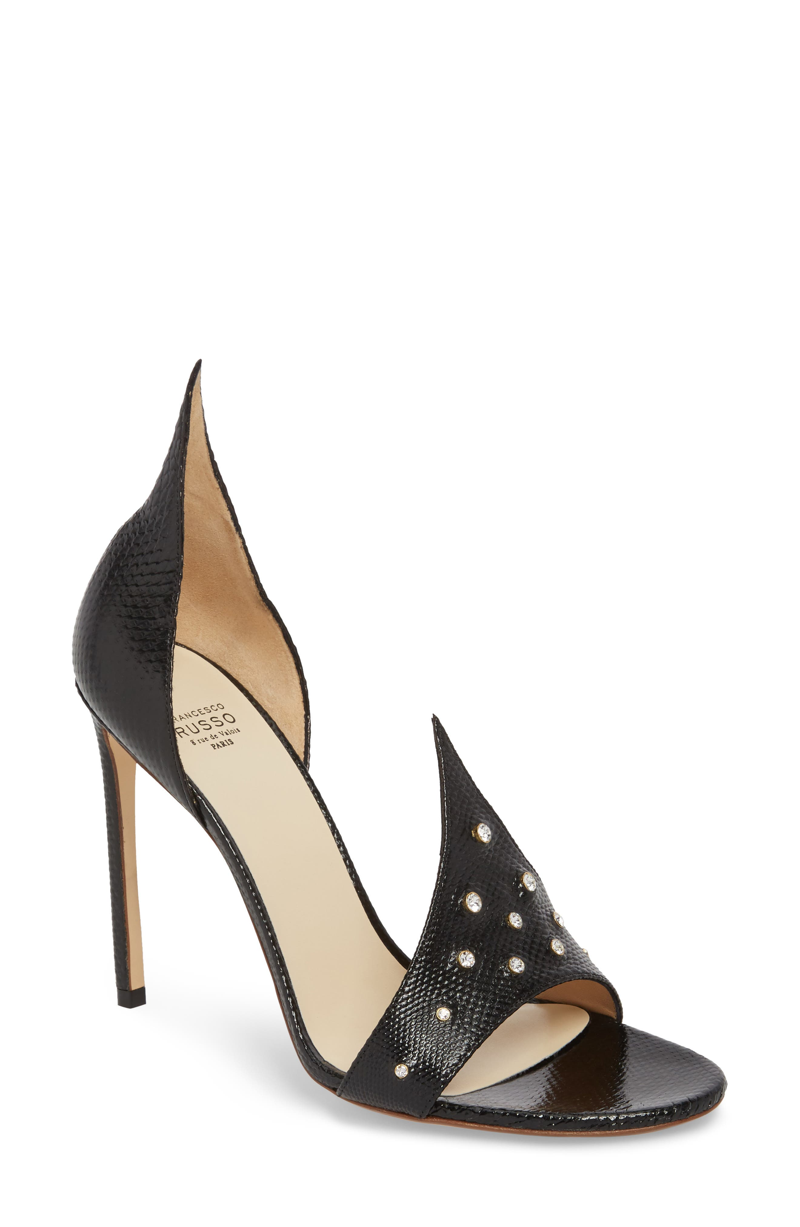 Flame Studded Sandal,                             Main thumbnail 1, color,                             Black