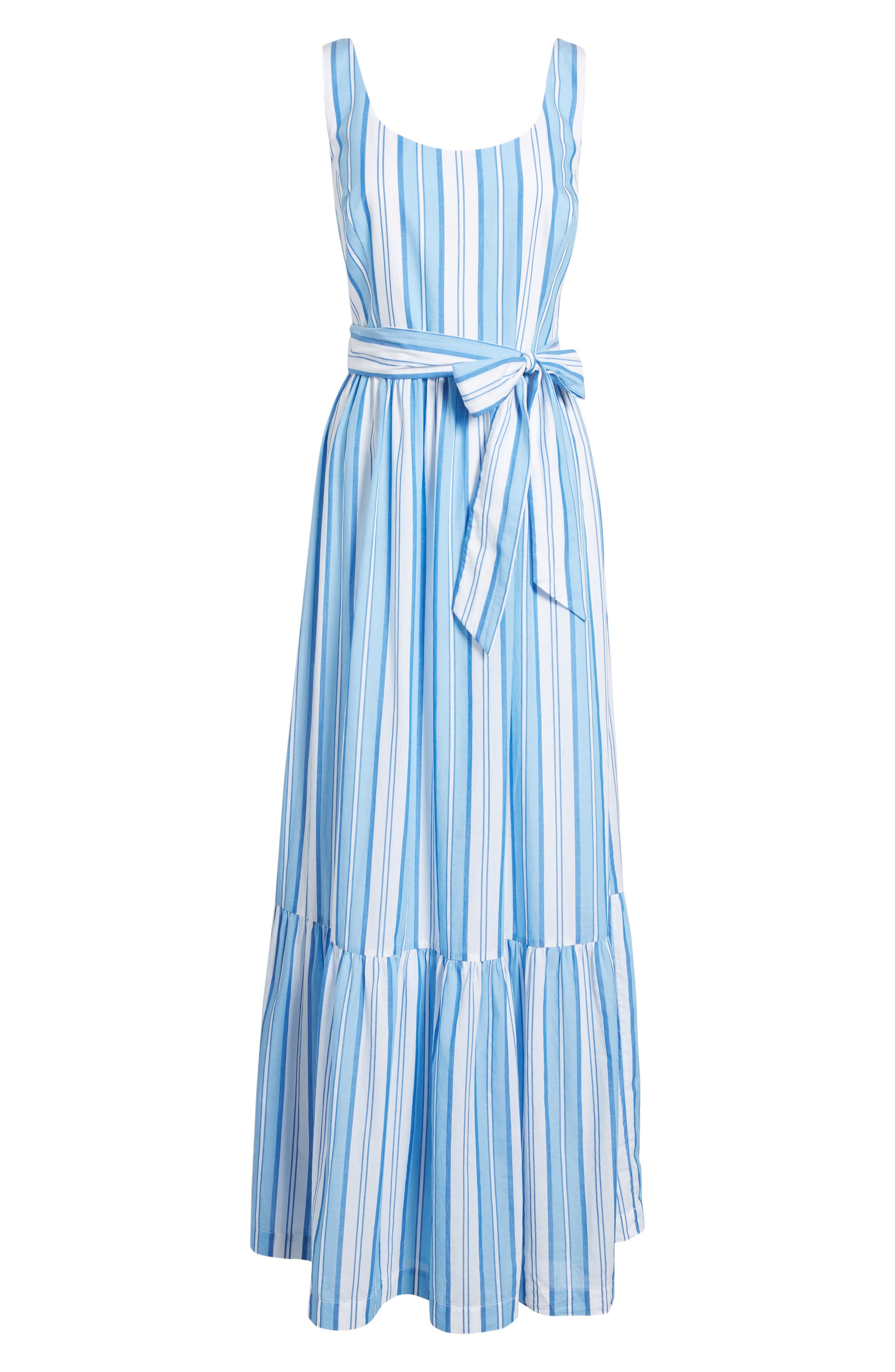 Ocean Stripe Tiered Maxi Dress,                             Alternate thumbnail 6, color,                             Blue Jay