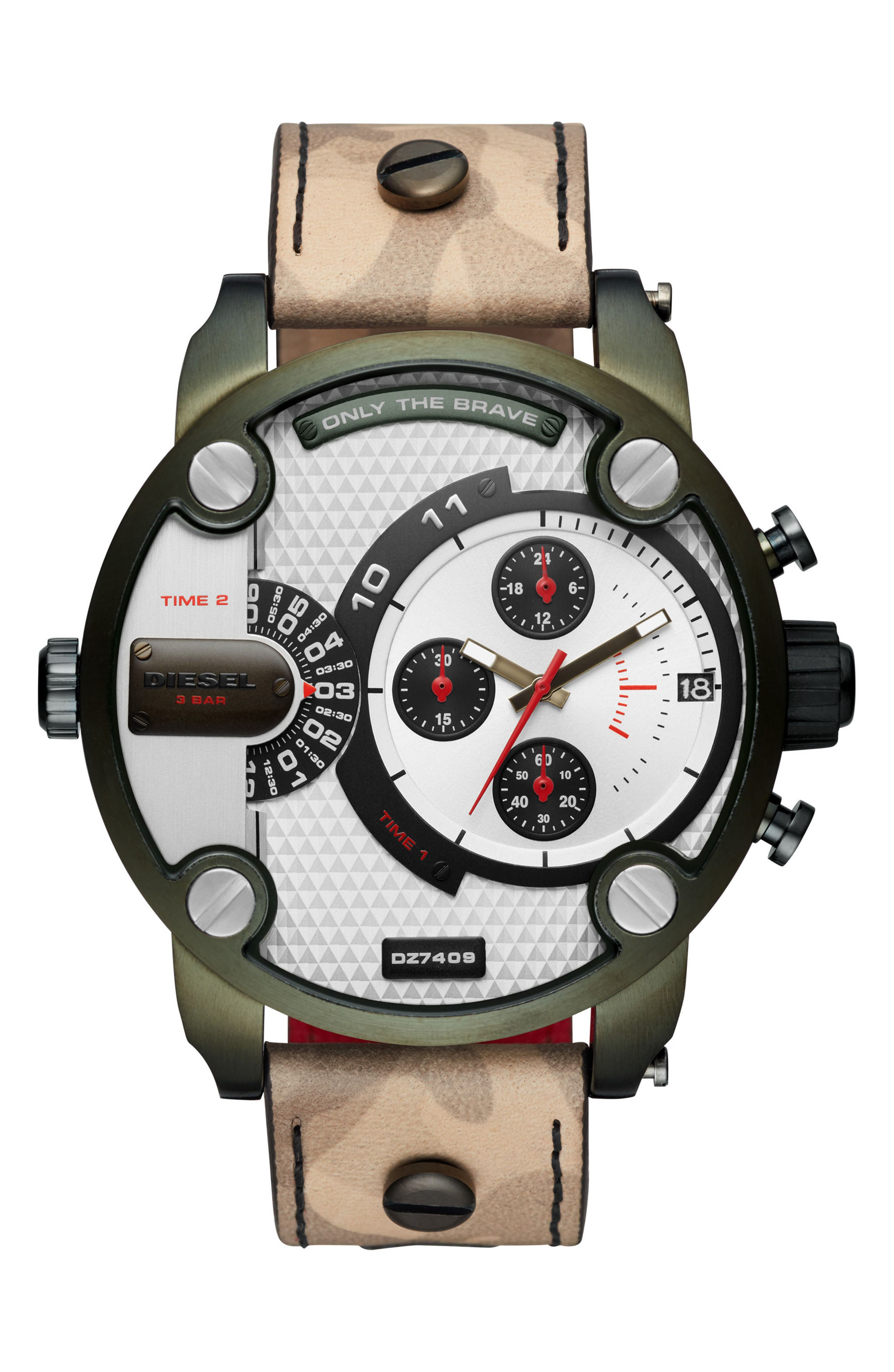 DIESEL® Little Daddy Leather Strap Chronograph Watch, 52mm