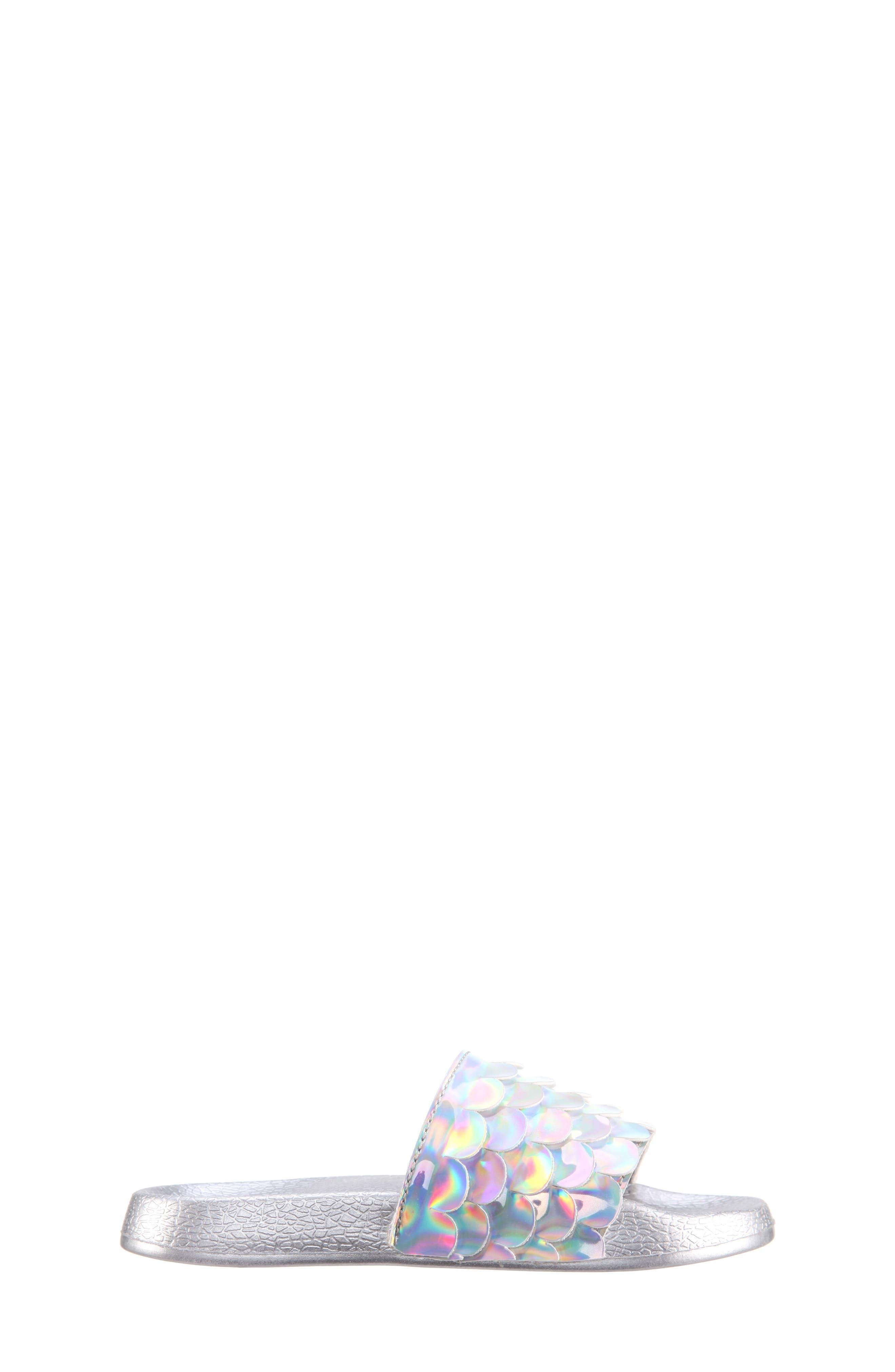 Mermaid Sport Slide Sandal,                             Alternate thumbnail 3, color,                             Silver Mirror Metallic