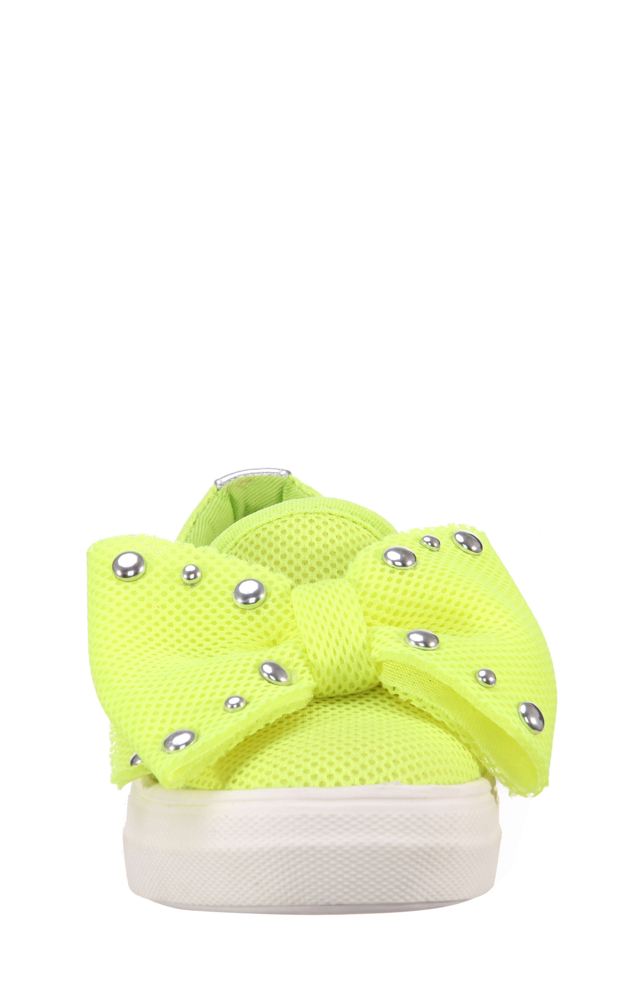 Mary Bow Slip-On Sneaker,                             Alternate thumbnail 4, color,                             Neon Yellow Mesh