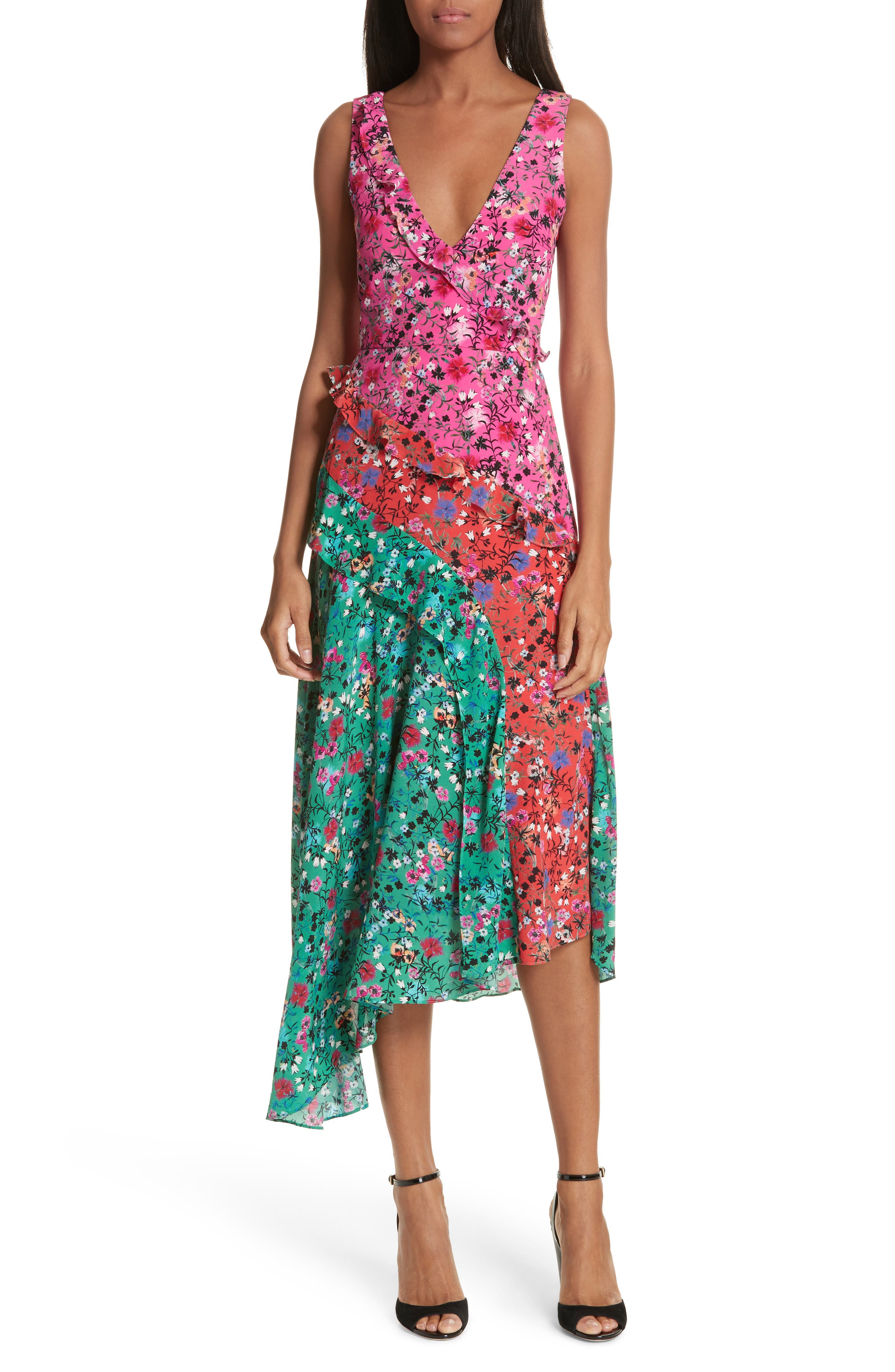 Aggie Floral Print Silk Dress,                             Main thumbnail 1, color,                             Pink Meadow