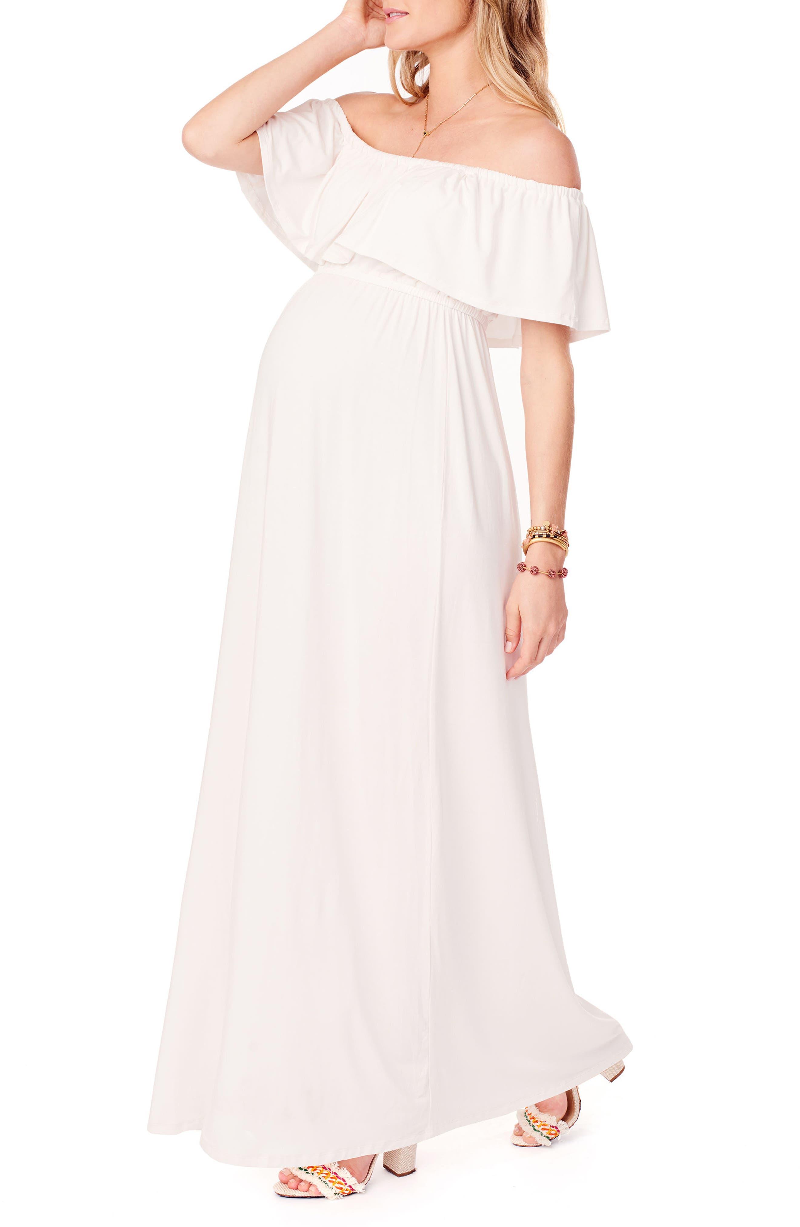 Alternate Image 3  - Ingrid & Isabel® Off the Shoulder Maternity Maxi Dress