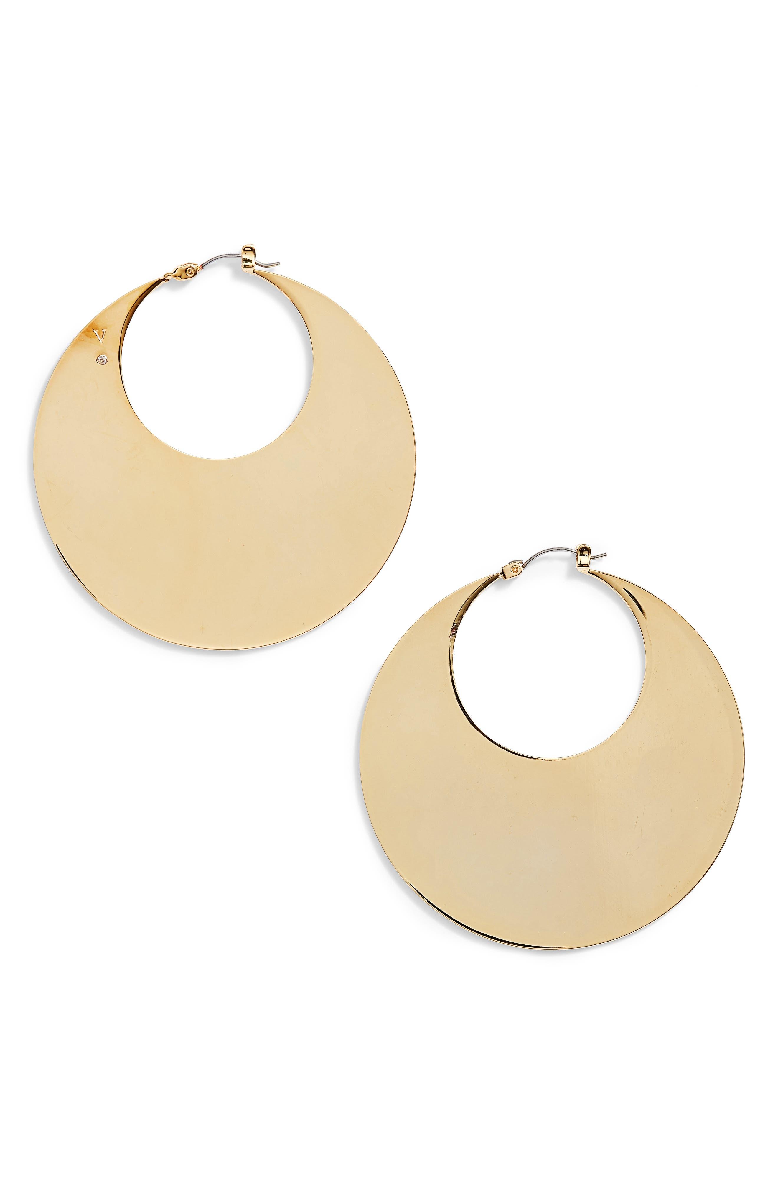 Chunky Disc Hoop Earrings,                             Main thumbnail 1, color,                             Gold