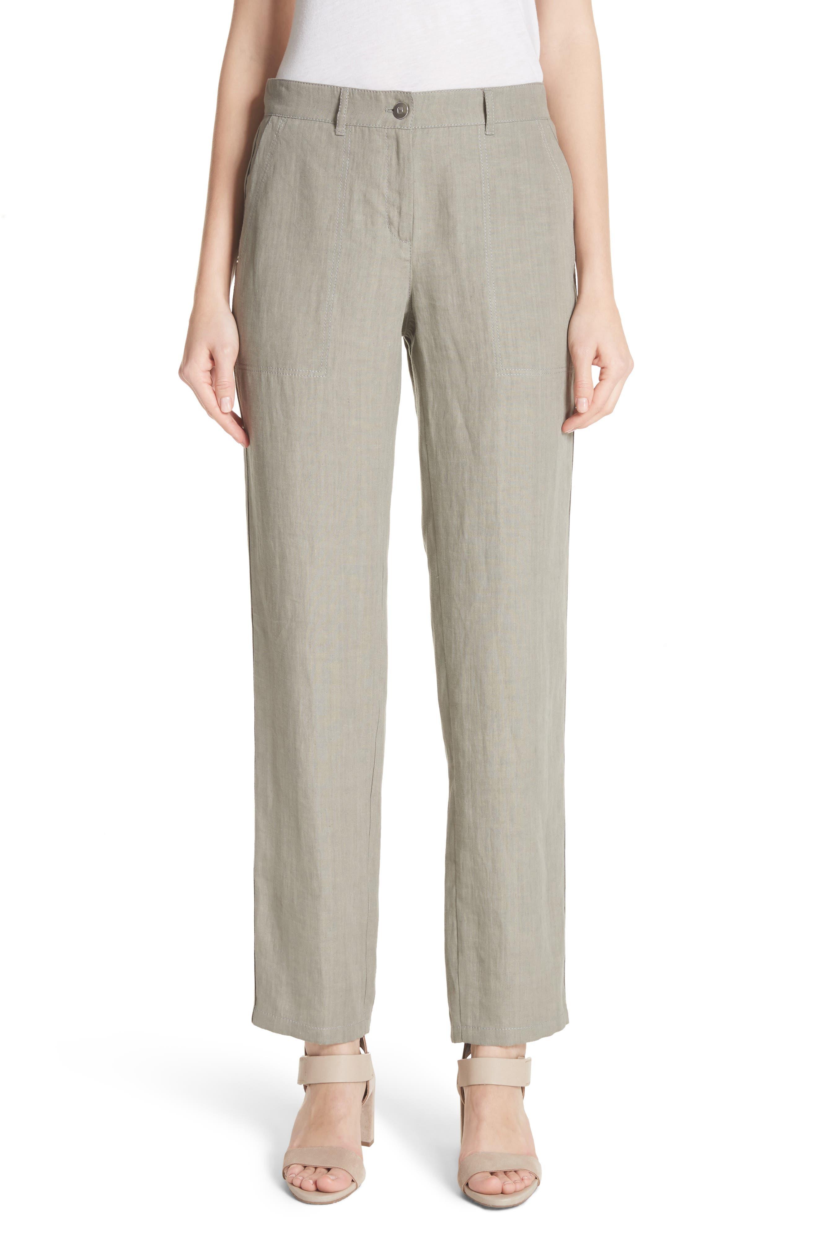 Fulton Linen Crop Pants,                         Main,                         color, Fog