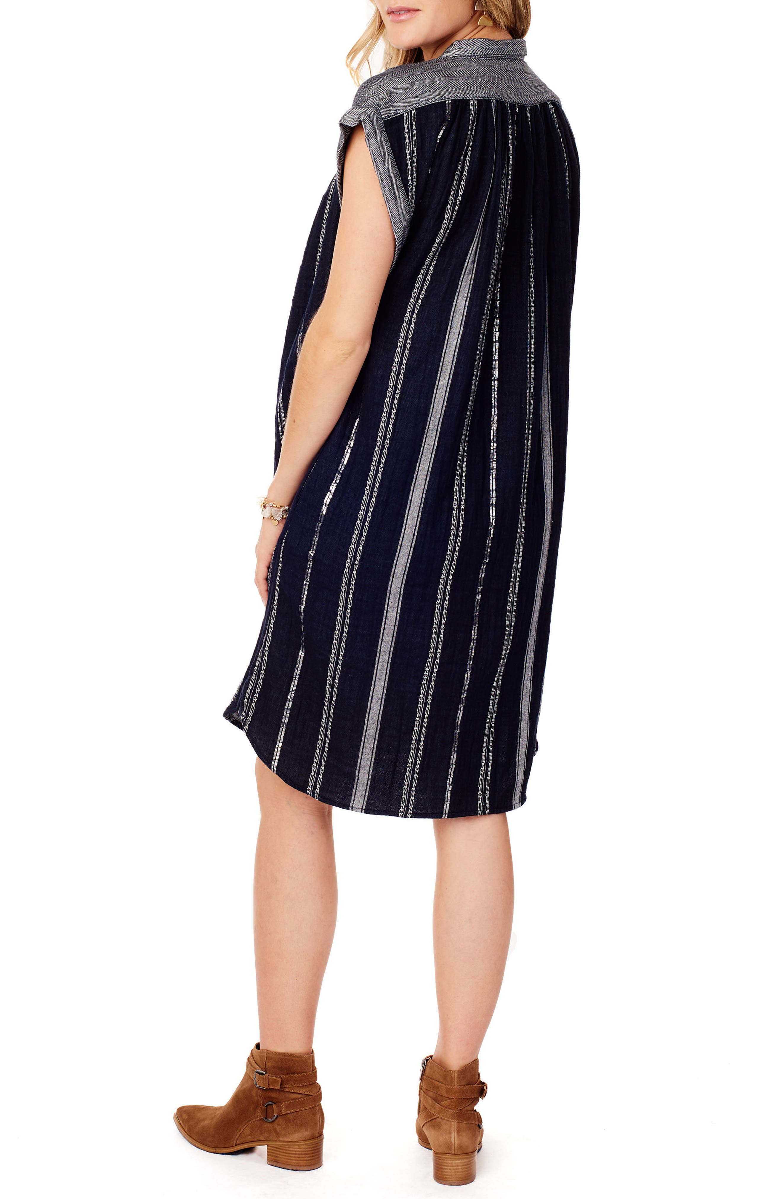 Ingrid & Isabel Maternity Shift Dress,                             Alternate thumbnail 2, color,                             True Navy Lurex Stripe