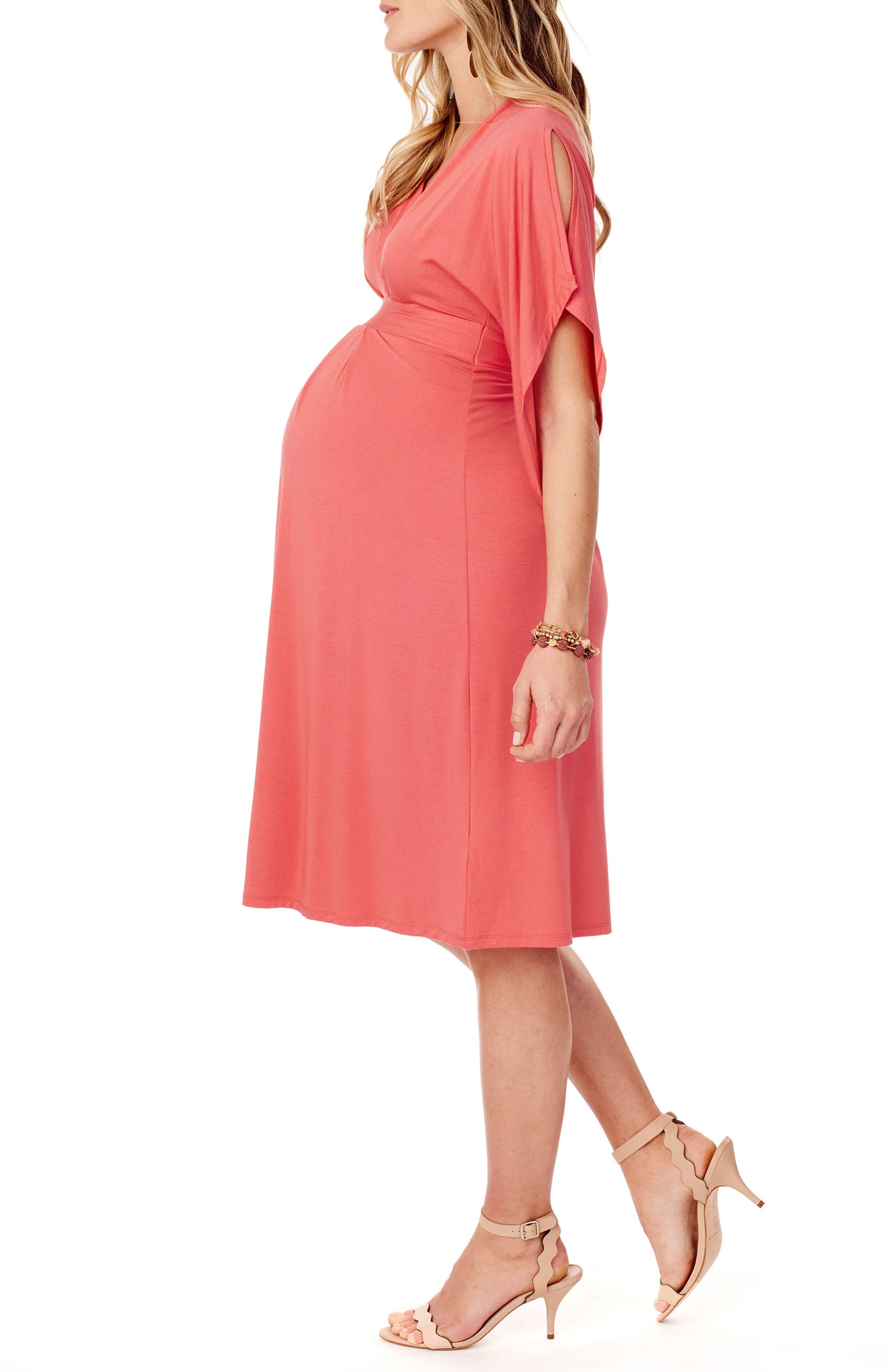 Split Kimono Sleeve Maternity Dress,                             Alternate thumbnail 3, color,                             Coral