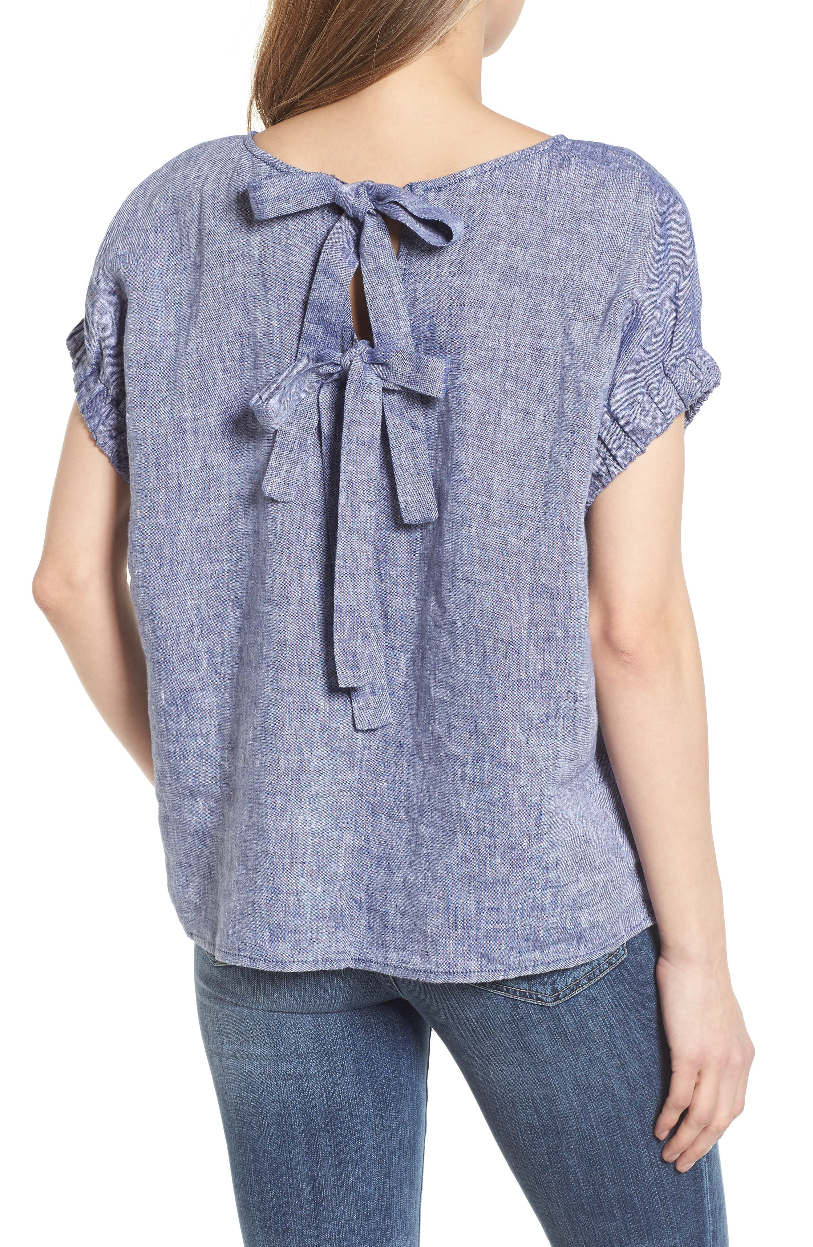 Linen Tie Back Blouse,                             Alternate thumbnail 2, color,                             Navy Crossdye