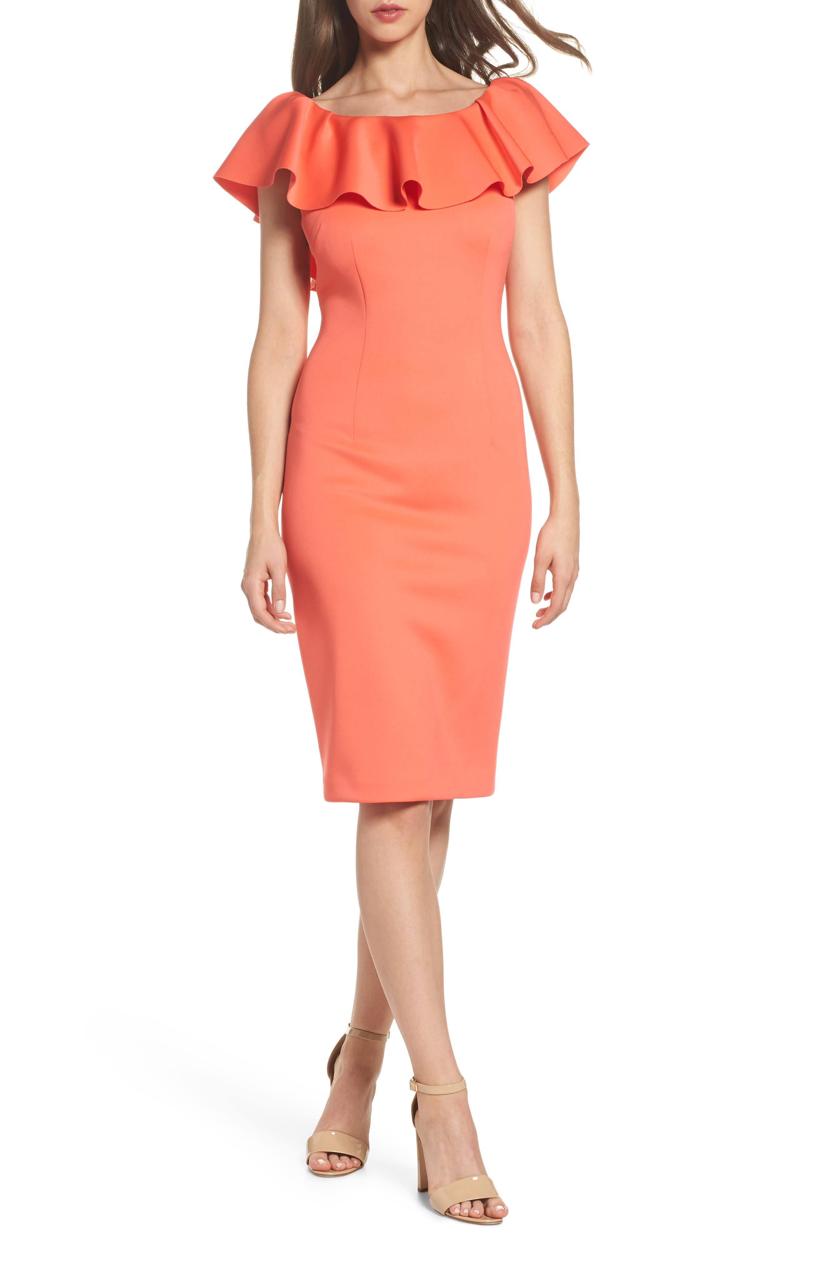 Off the Shoulder Ruffle Dress,                         Main,                         color, Coral