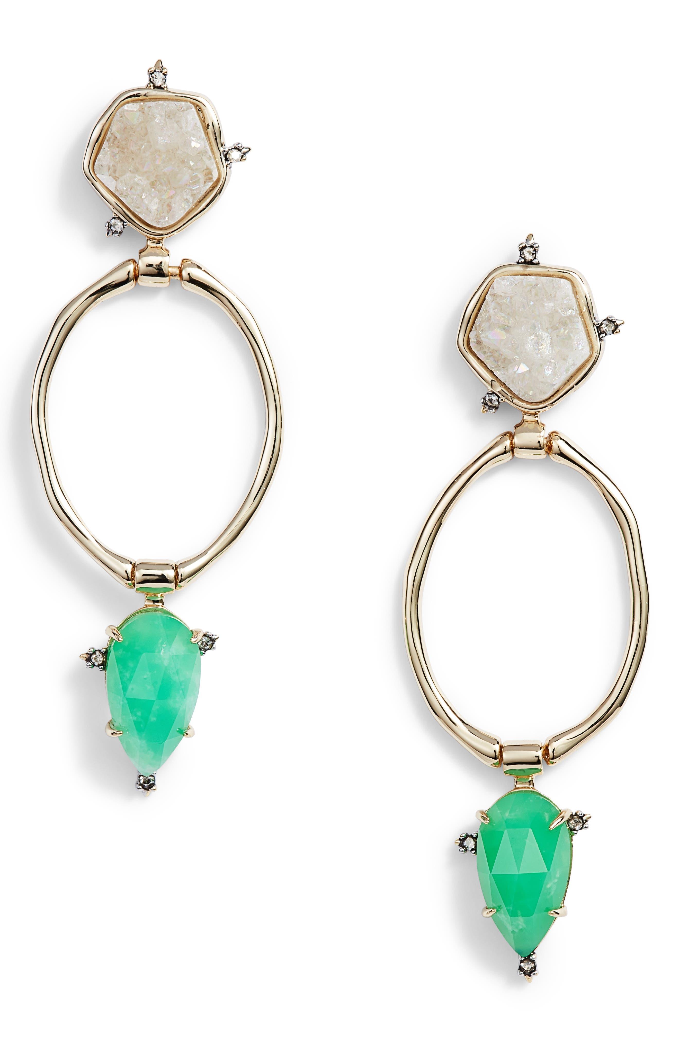 Multistone Drusy Drop Earrings,                         Main,                         color, Gold