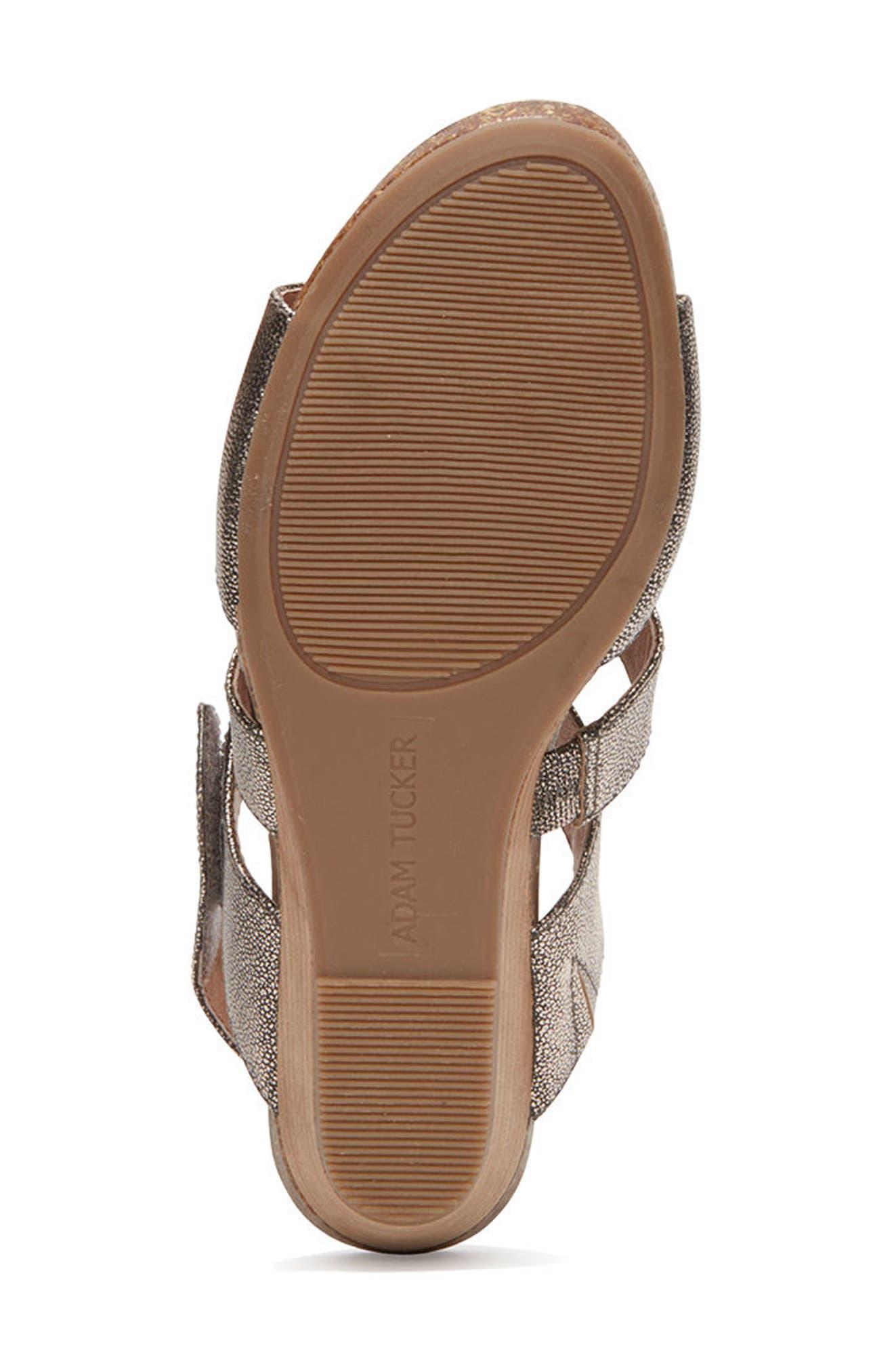 Adam Tucker Tora Wedge Sandal,                             Alternate thumbnail 5, color,                             Champagne Leather