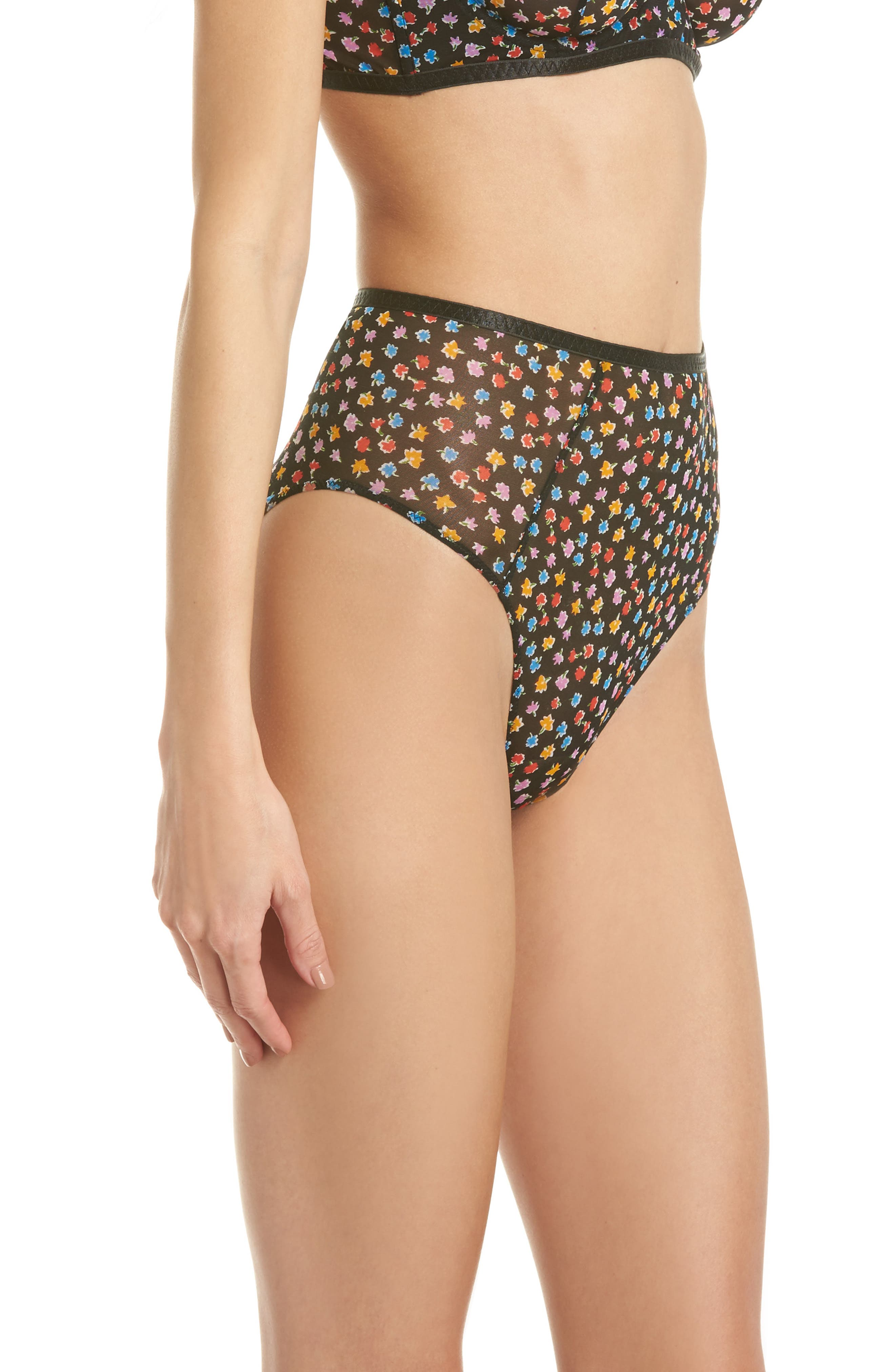 Intimately FP Capri High Waist Panties,                             Alternate thumbnail 3, color,                             Black Combo