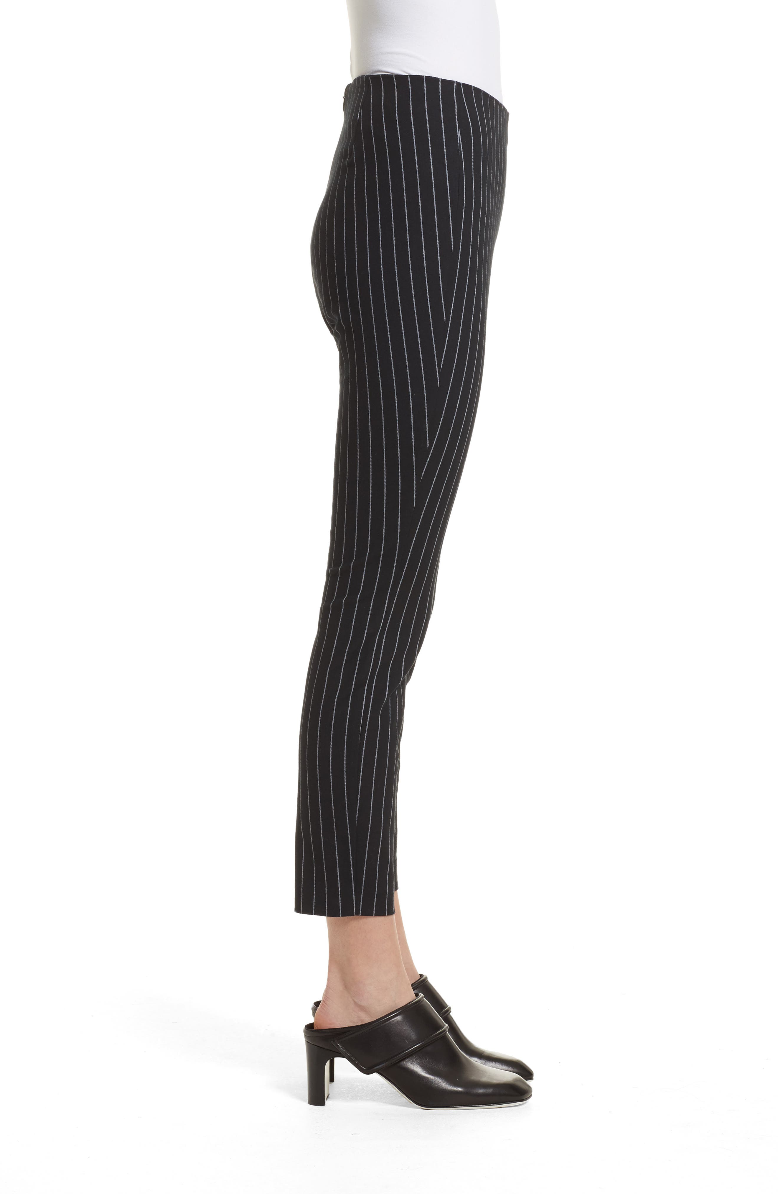 Simone Pinstripe Pants,                             Alternate thumbnail 3, color,                             Black/ White
