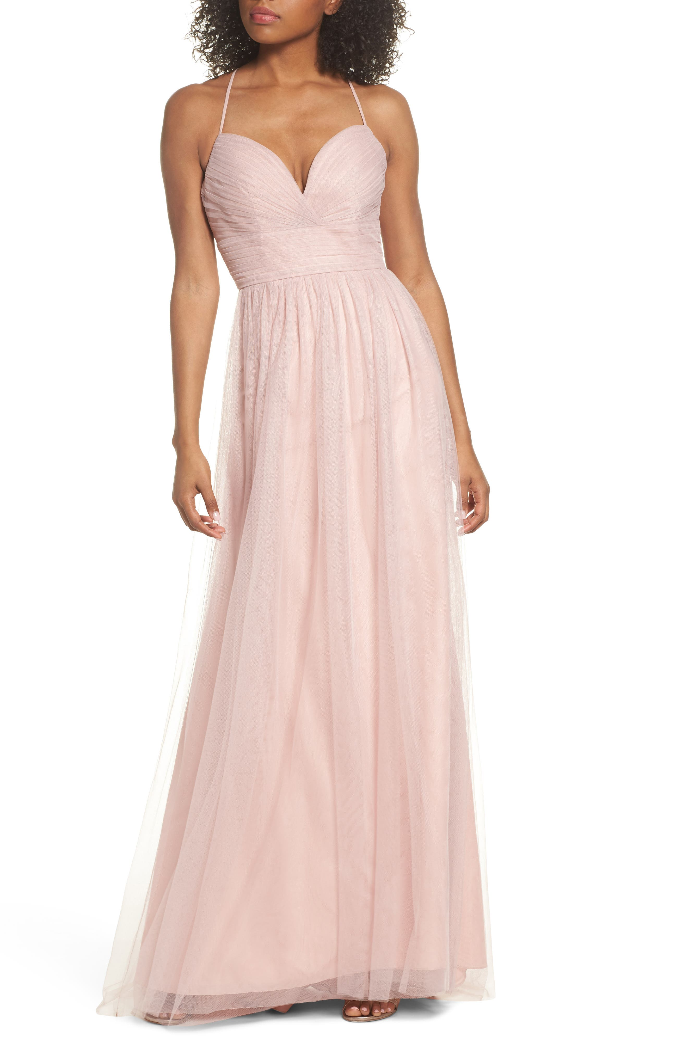 English Net Gown,                             Main thumbnail 1, color,                             Dusty Rose