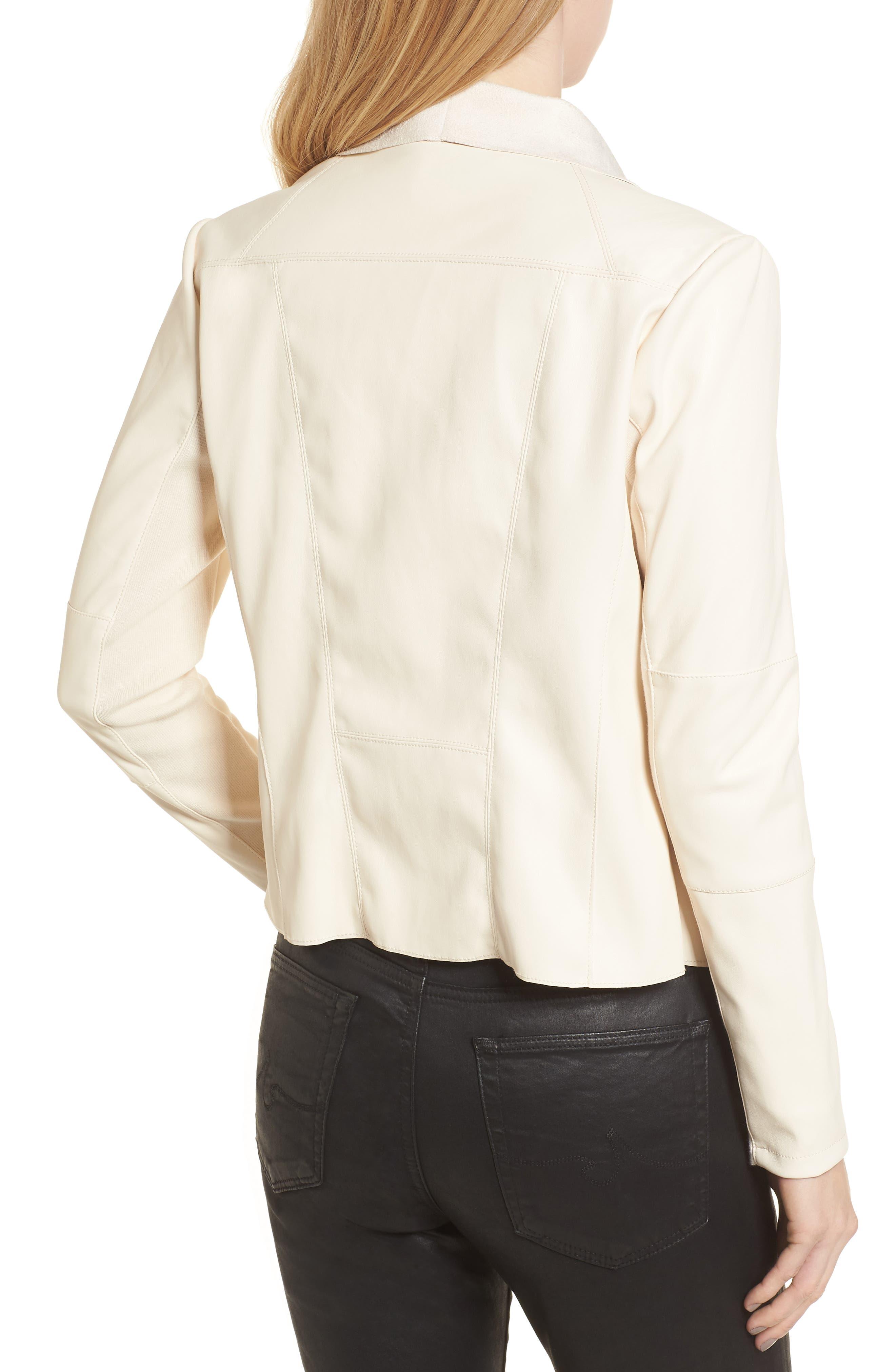 Drape Faux Leather & Faux Suede Jacket,                             Alternate thumbnail 2, color,                             Cream