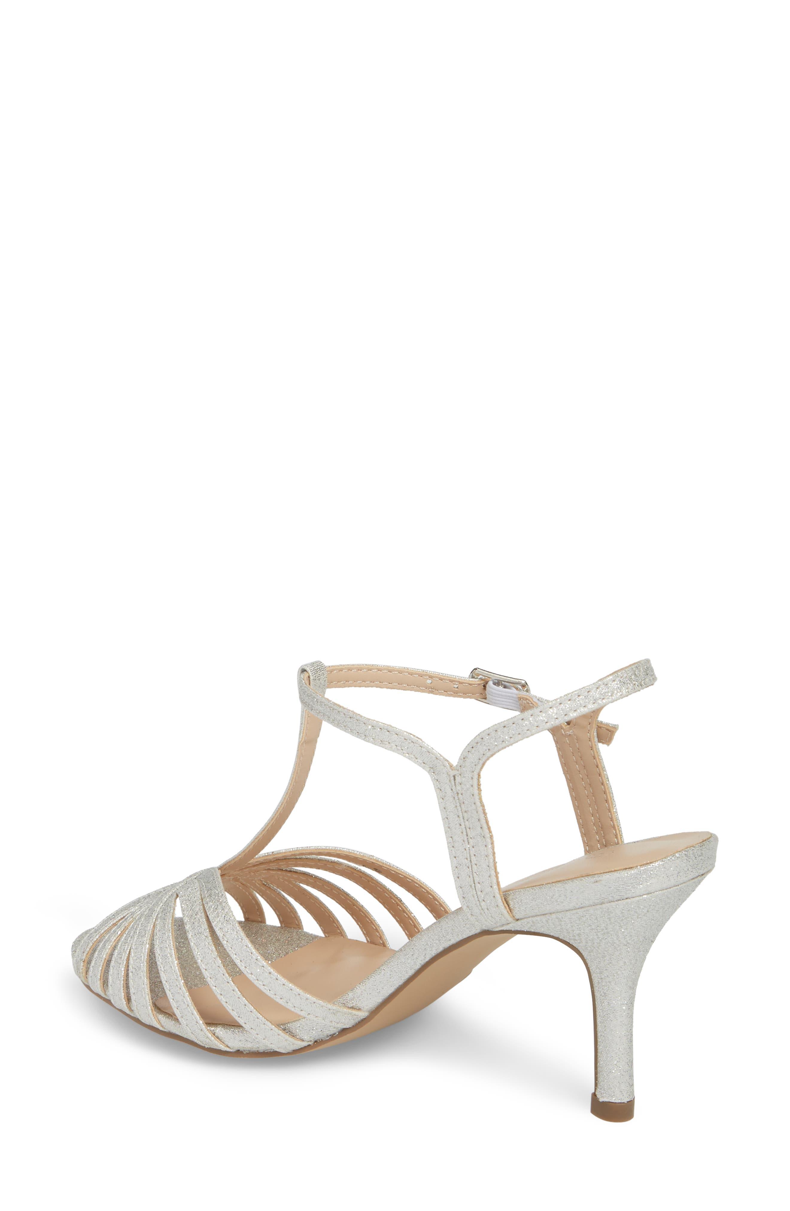 Maggie T-Strap Sandal,                             Alternate thumbnail 2, color,                             Silver Glitter