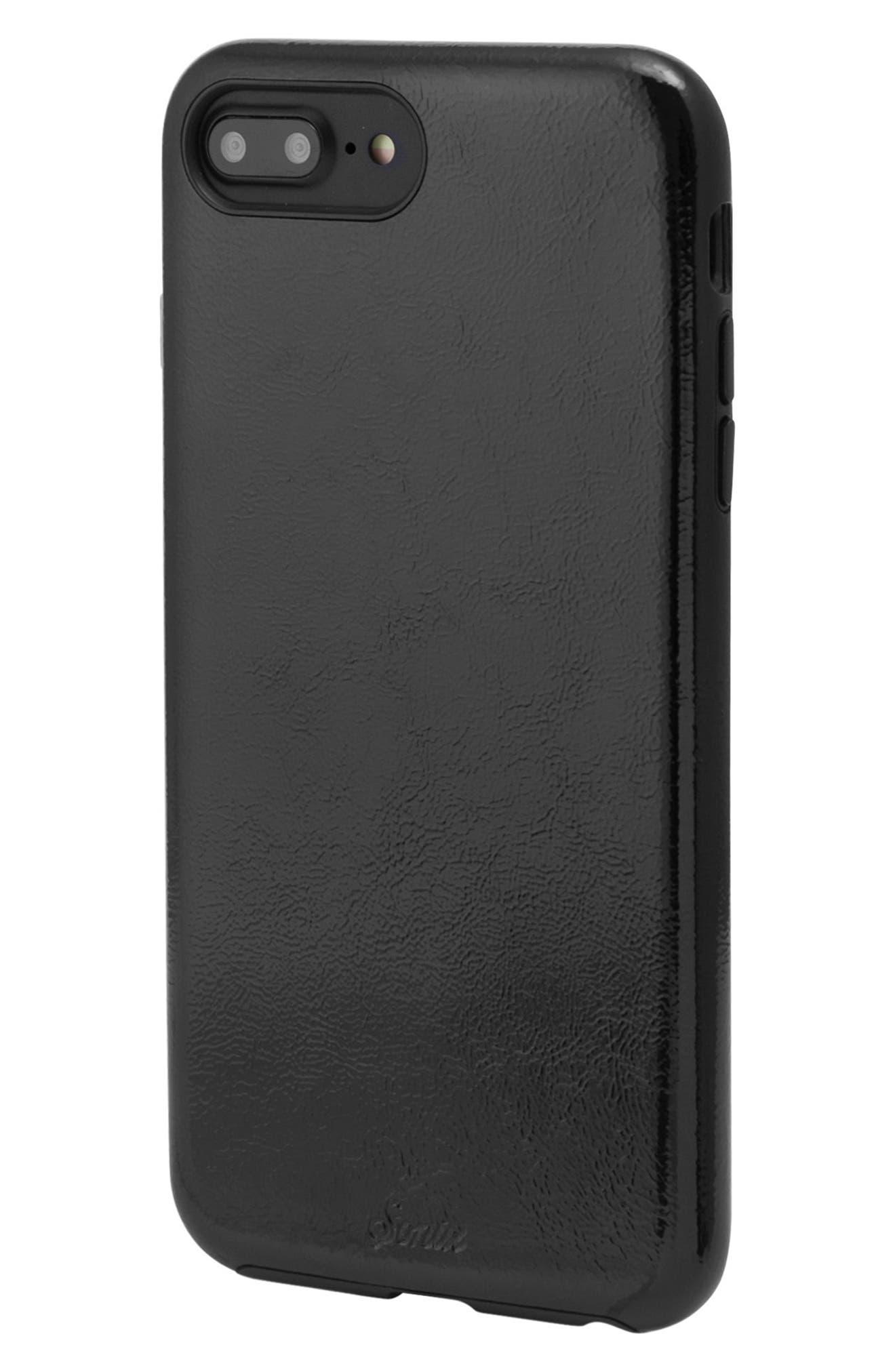 Black Patent Faux Leather iPhone 6/6s/7/8 Plus Case,                             Alternate thumbnail 2, color,                             Black