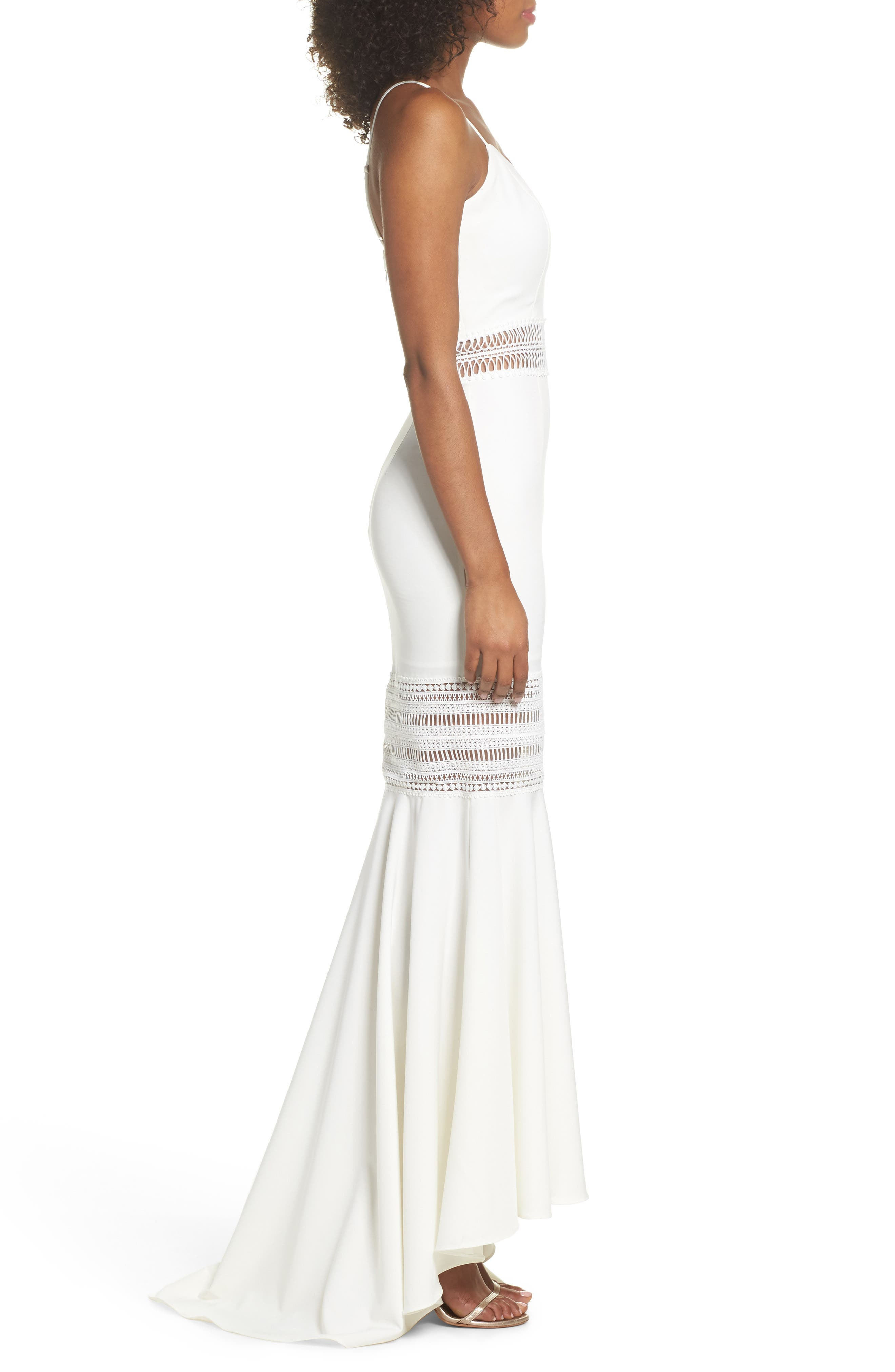 Clarity Openwork Inset Mermaid Gown,                             Alternate thumbnail 3, color,                             Ivory